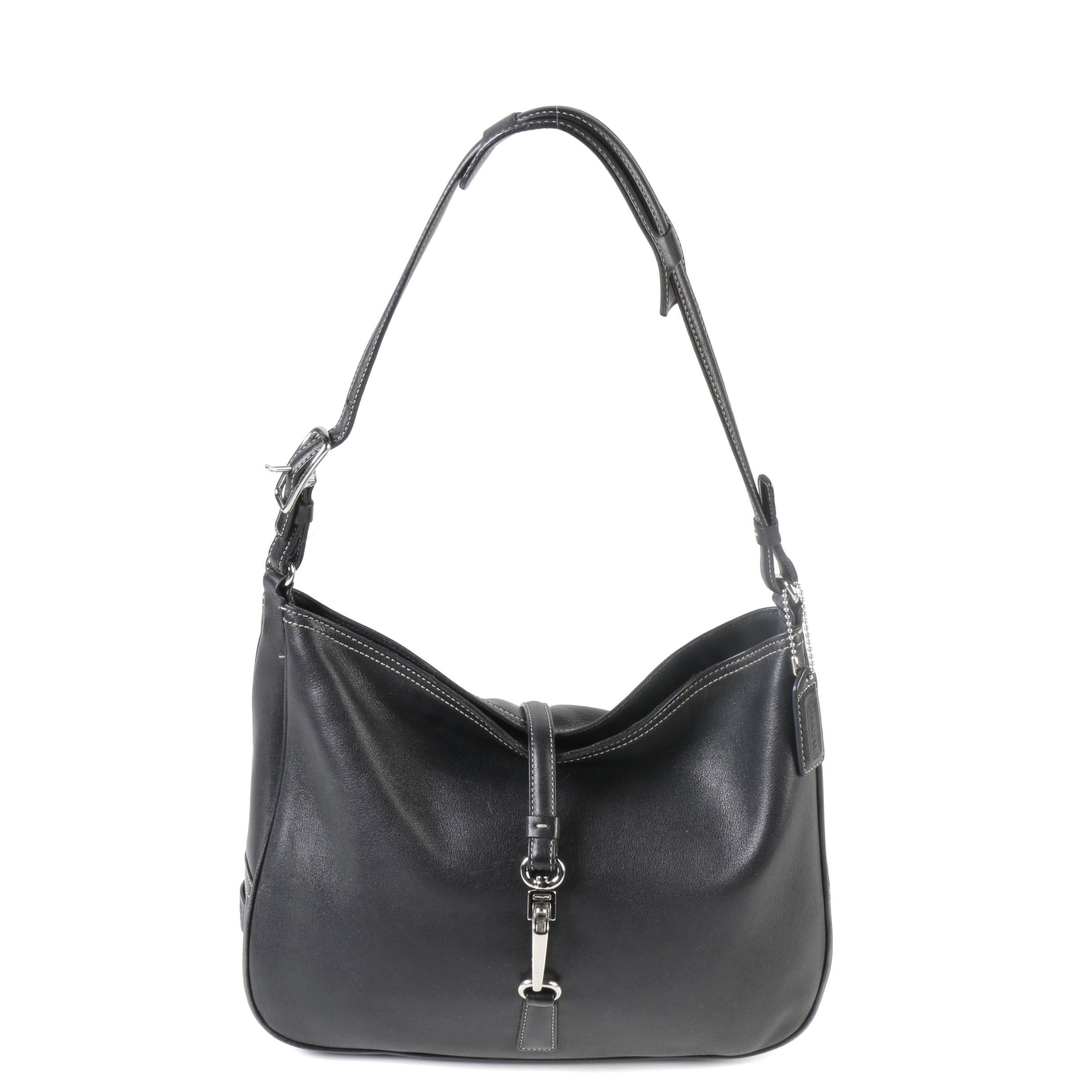 Coach Black Leather Hampton Click Lock Shoulder Bag
