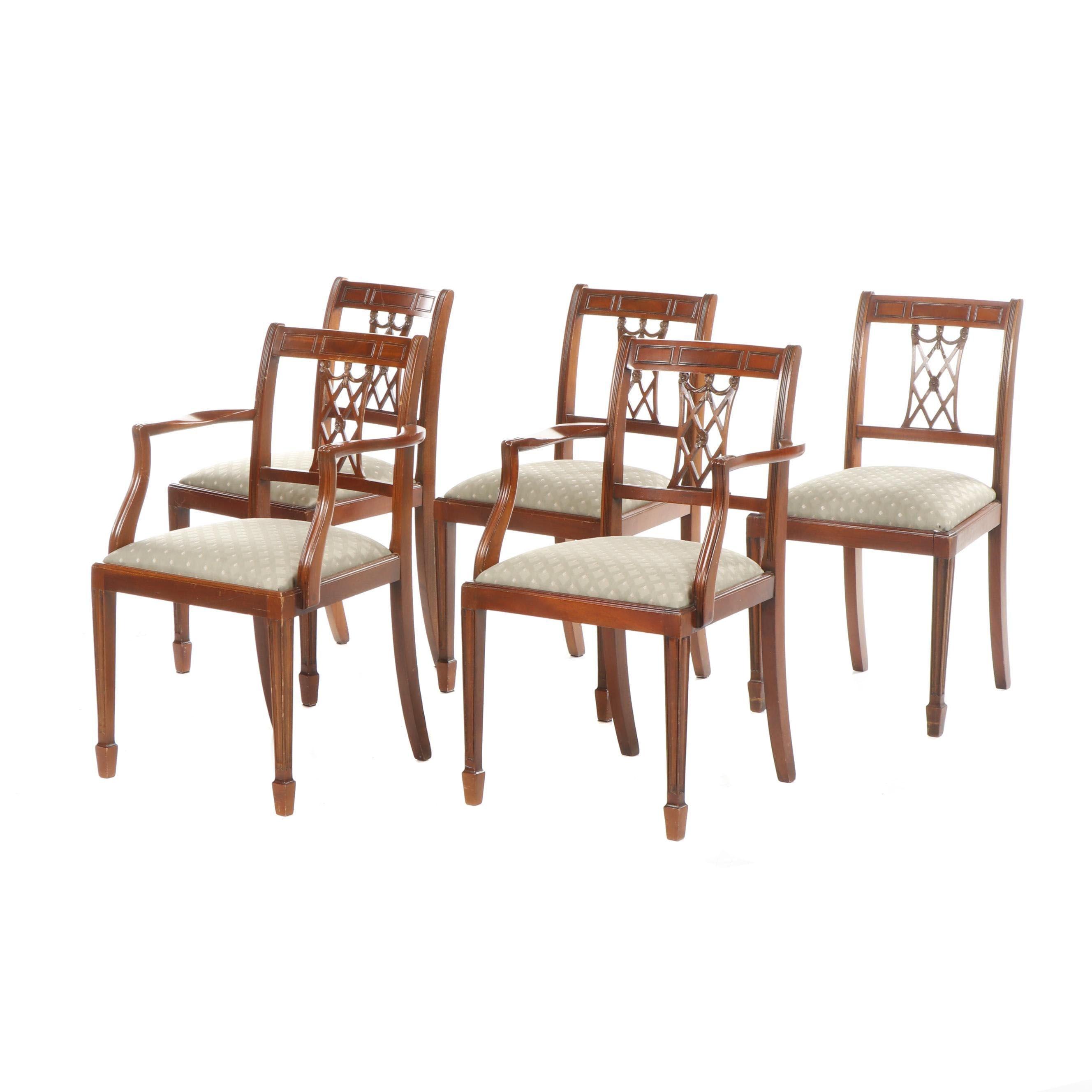Shaw of London Lattice Back Federal Style Oak Chairs