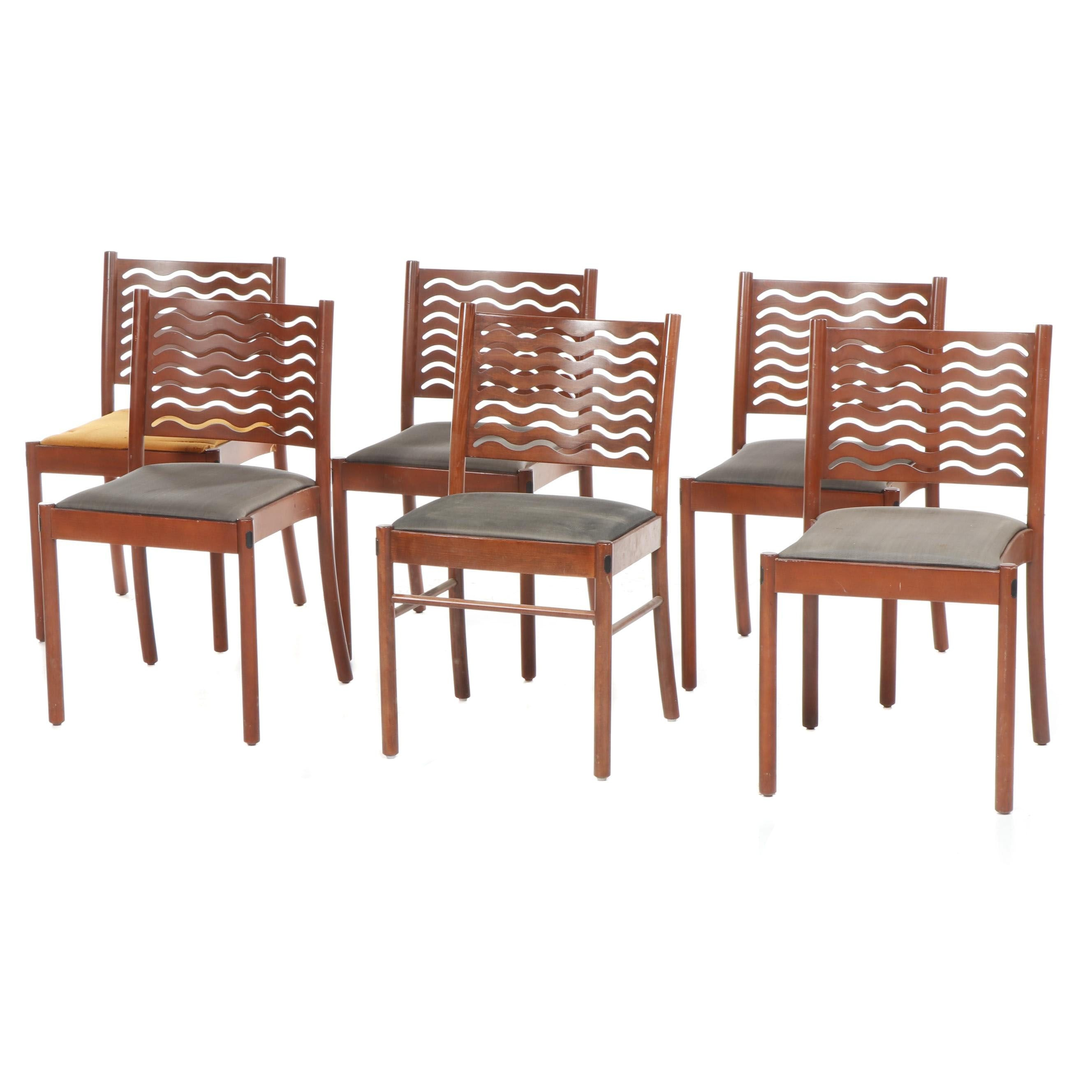 Six Modern Style Atelier International Wooden Side Chairs with Wave Pierced Back