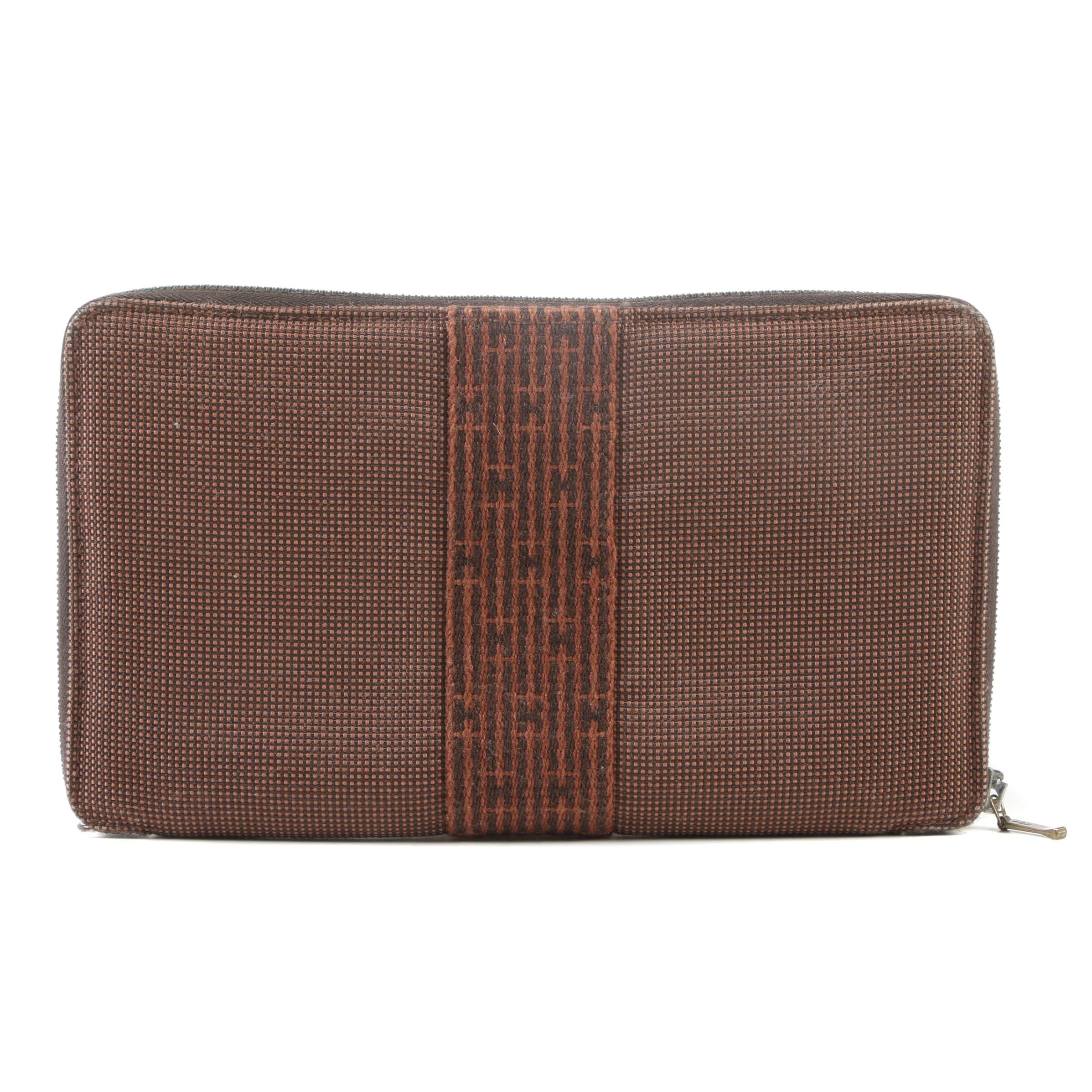Hermès Paris Brown Tweed Canvas Herline GM Zippy Wallet Organizer