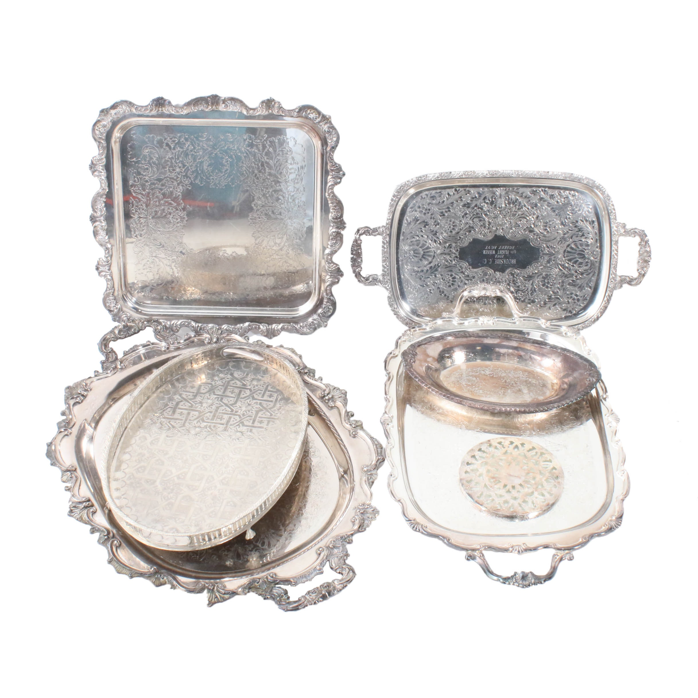 Silver Plate Serving Trays Featuring Henley and Poole