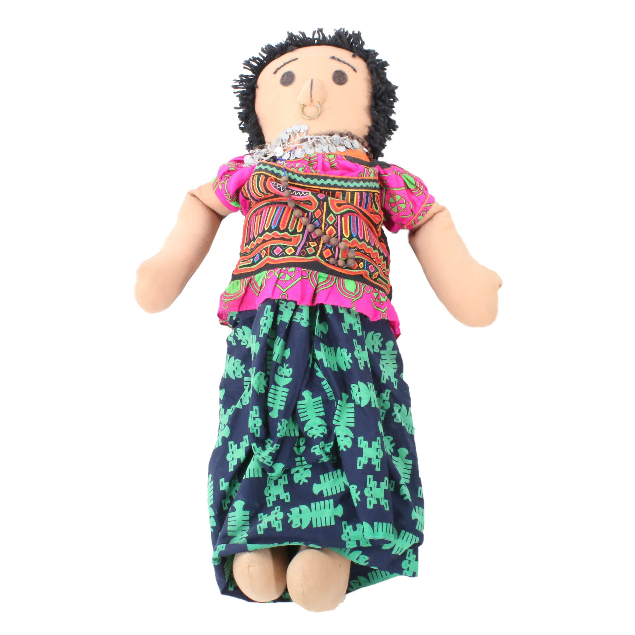 """Central American 36"""" Plush Doll with Mola Garment"""