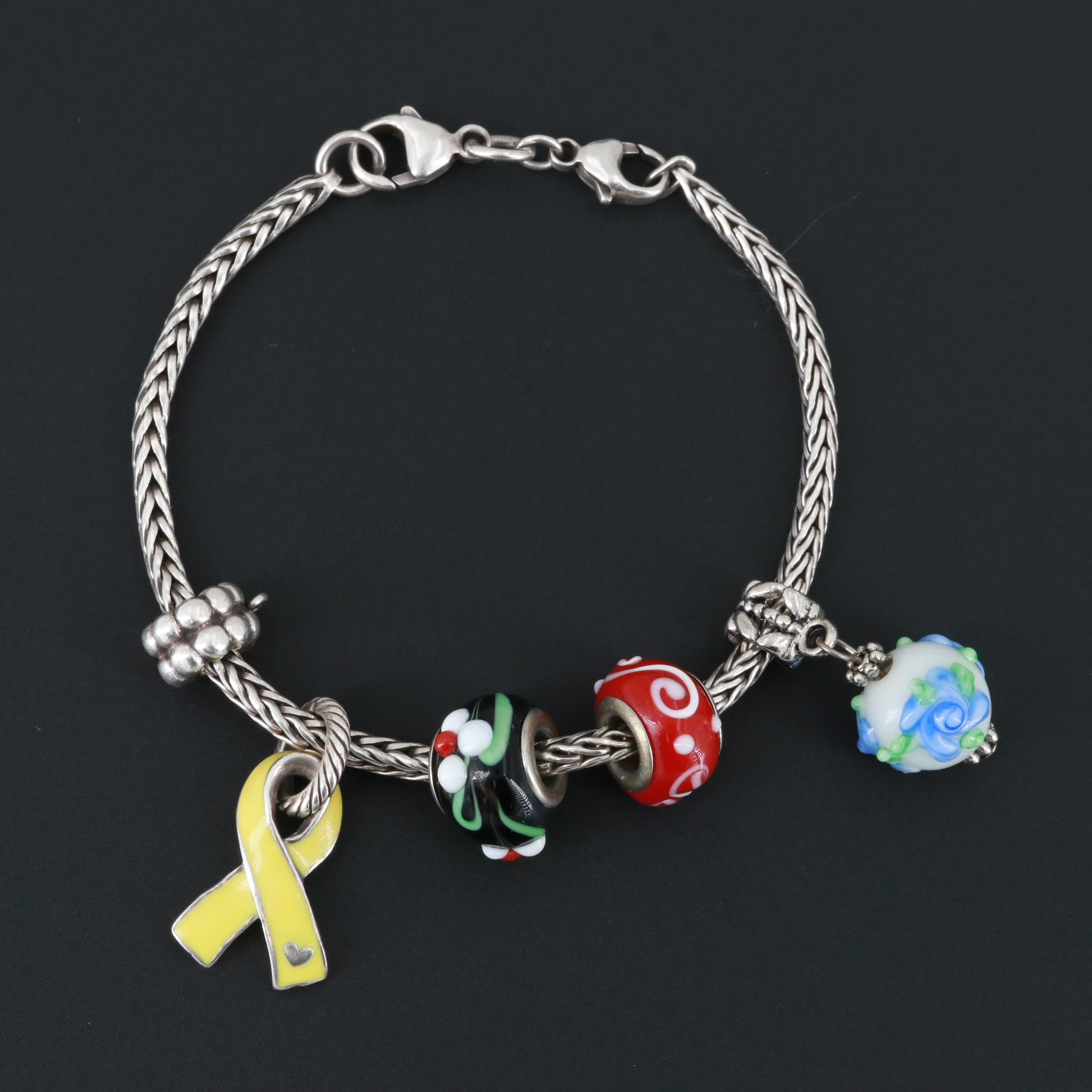 Sterling Silver Enamel Charm Bracelet With Silver Tone Glass Charms