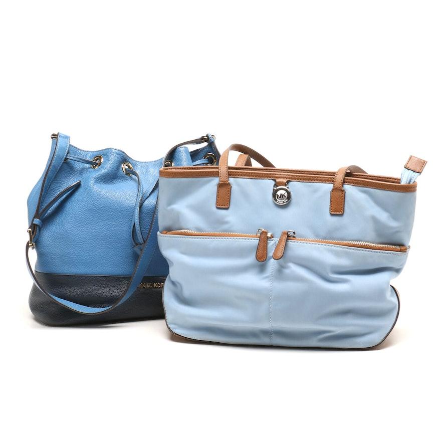 8141a37d1bdfaa MICHAEL Michael Kors Kempton Nylon Tote Bag and Jules Colorblock Bucket Bag  ...