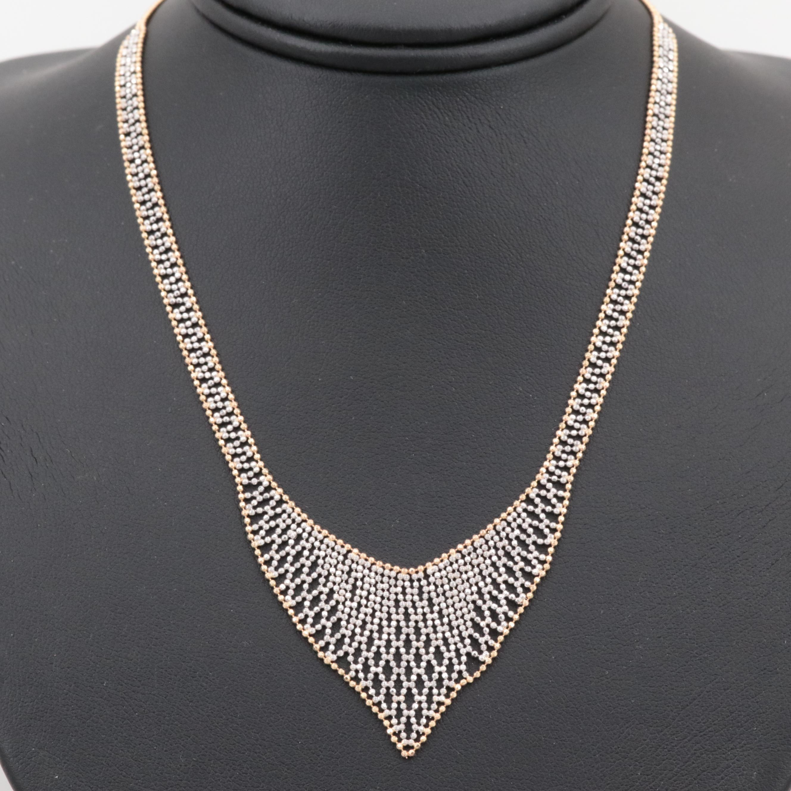 14K Yellow and White Gold Ball Chain Necklace