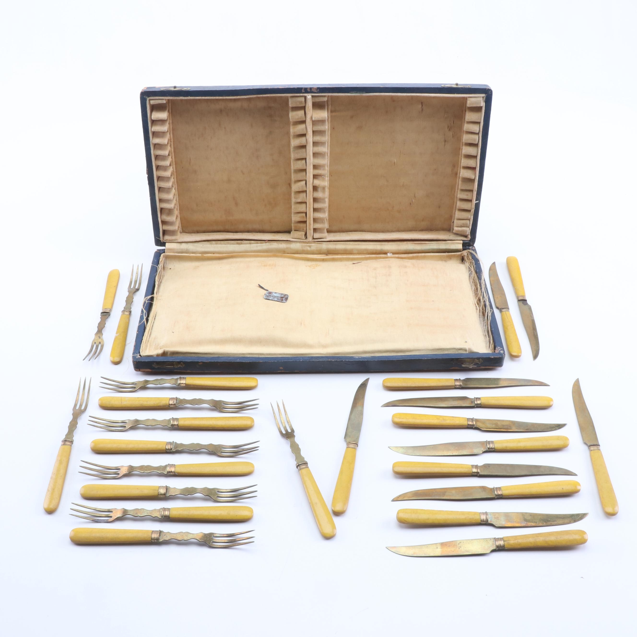 French Gold-Washed Silver and Enamel Fruit Knife and Fork Set