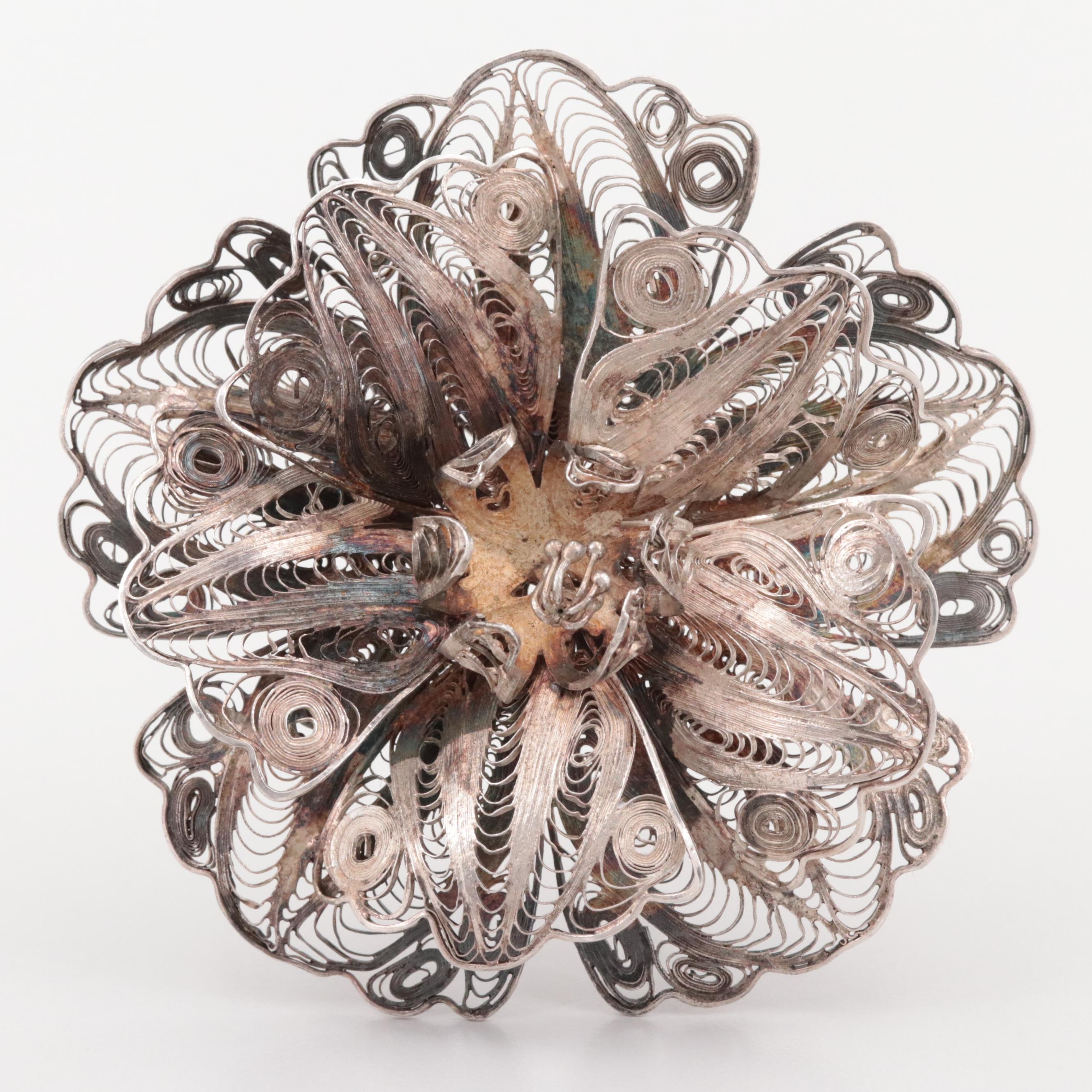 Sterling Silver Filigree Floral Motif Brooch