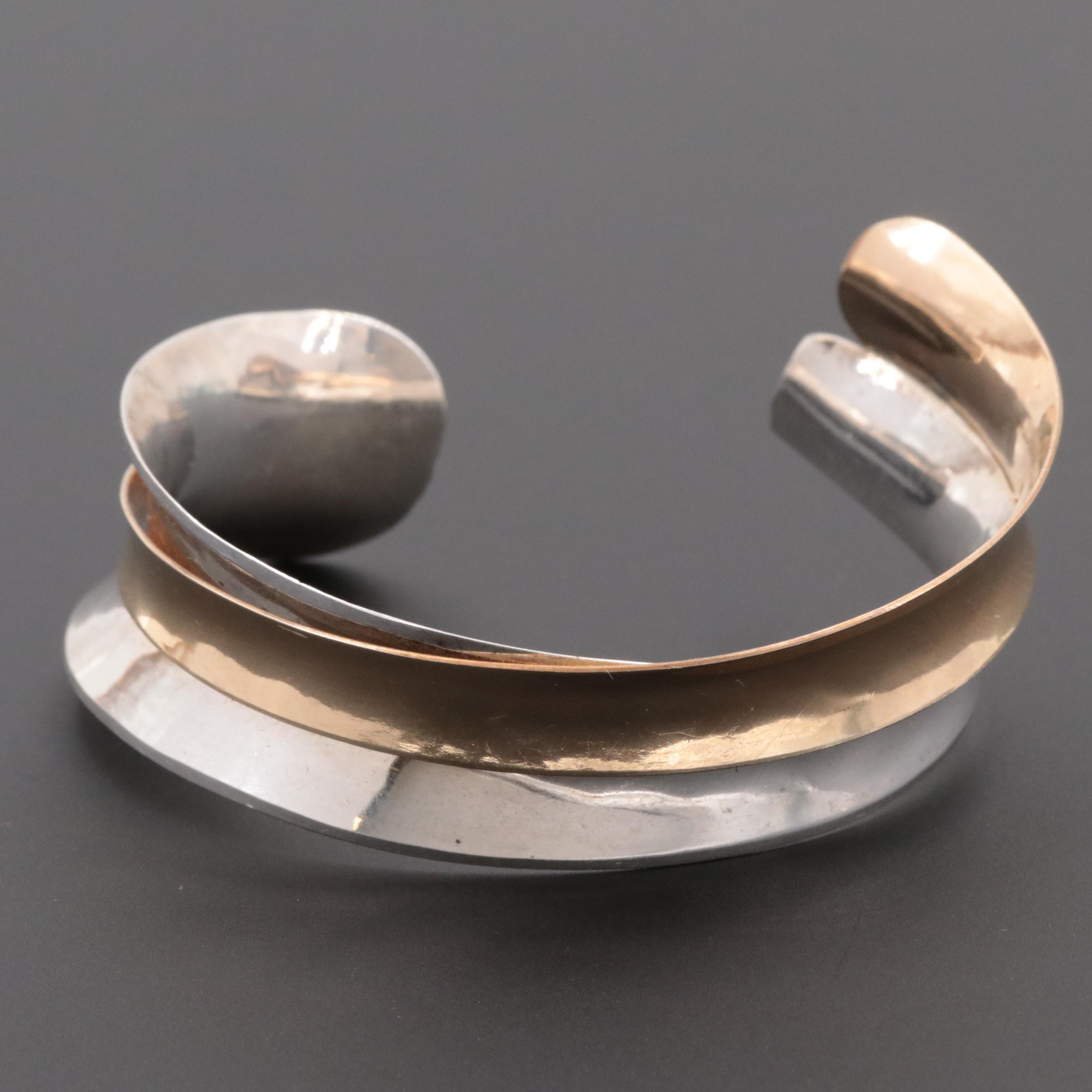Sterling Silver Cuff Bracelet with Gold Wash Accents