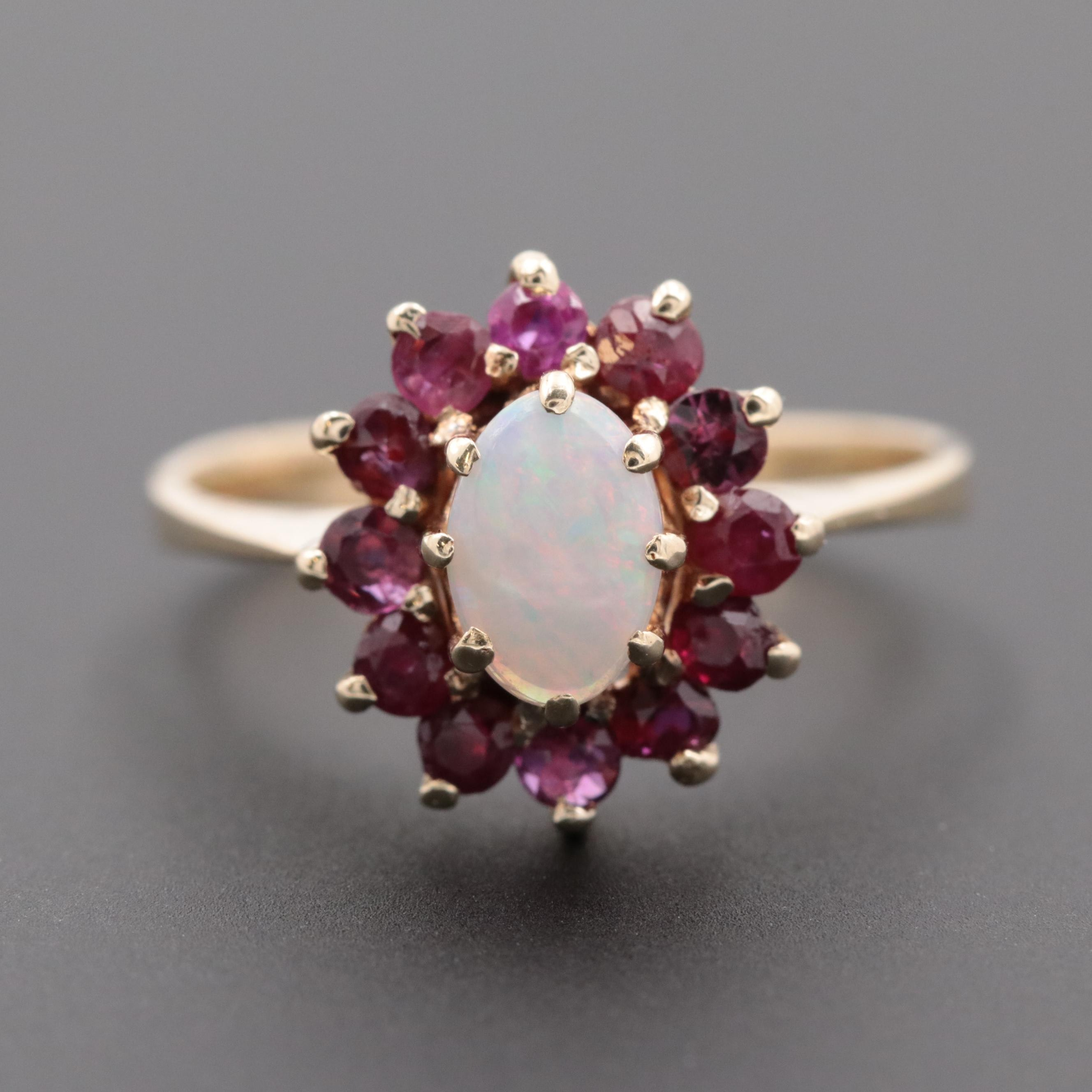 14K Yellow Gold Opal and Ruby Ring