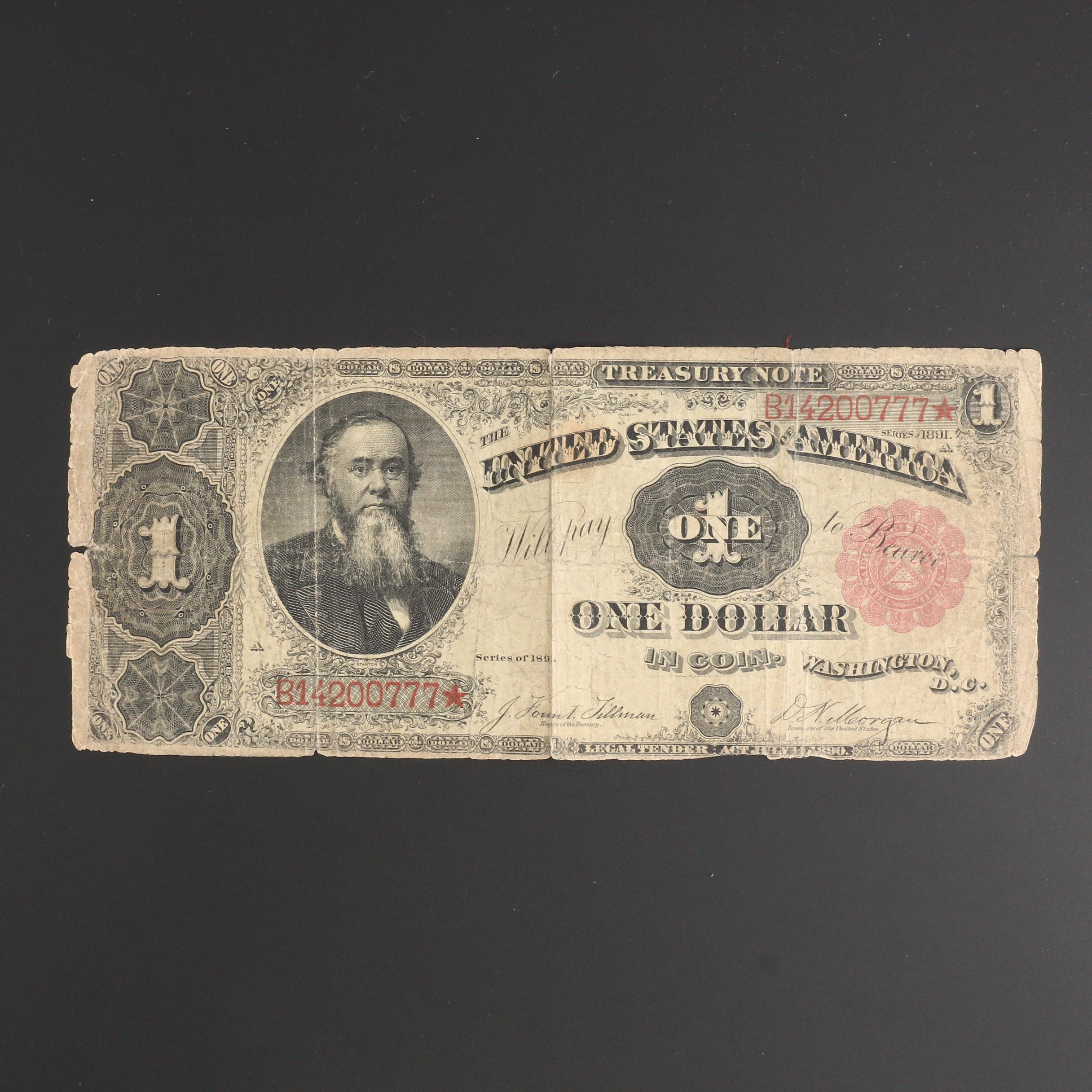 Series of 1891 $1 U.S. Treasury Note