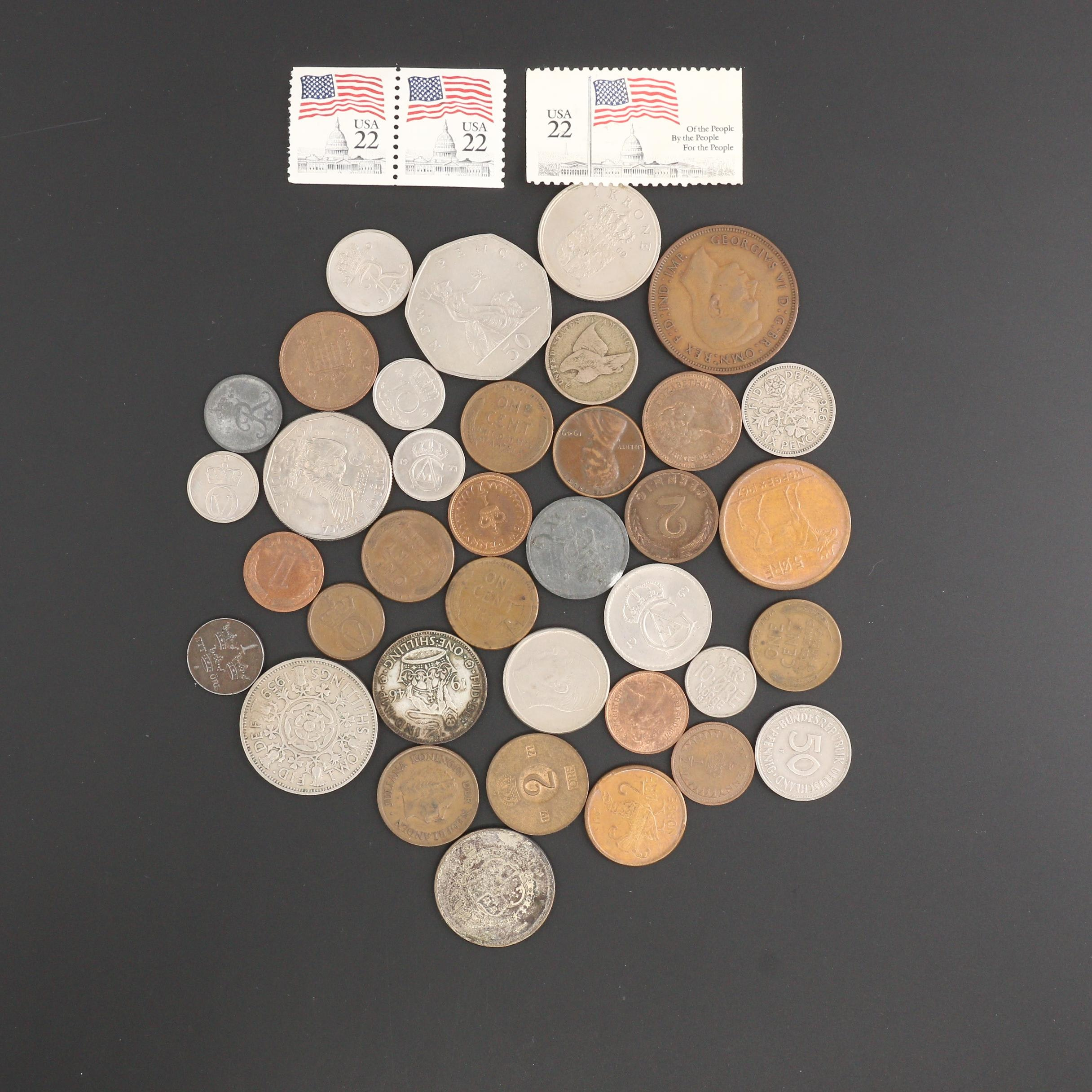 Assortment of Vintage Foreign and U.S. Coins