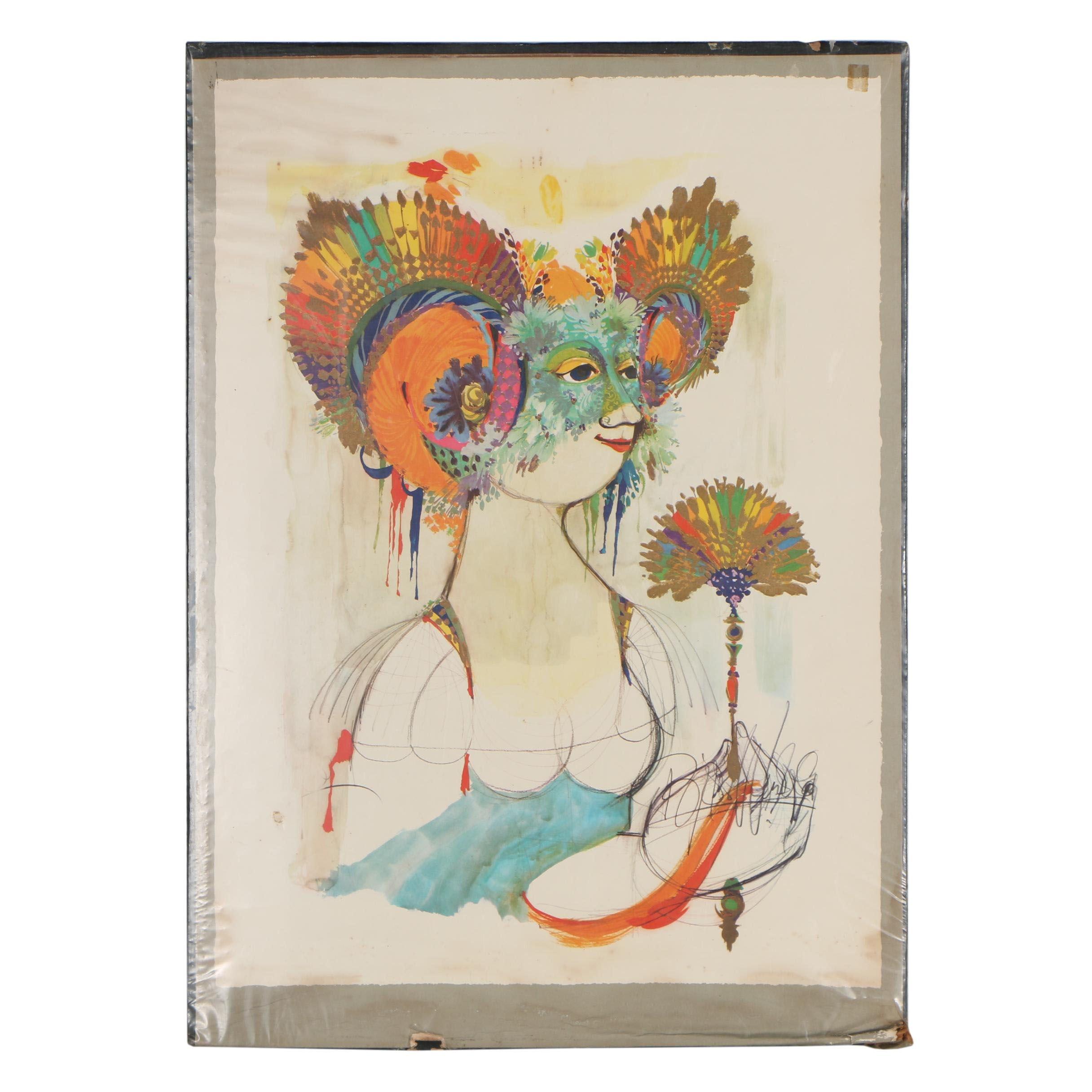 """Embellished Offset Lithograph after Bjørn Wiinblad """"Goddess of Iris"""""""