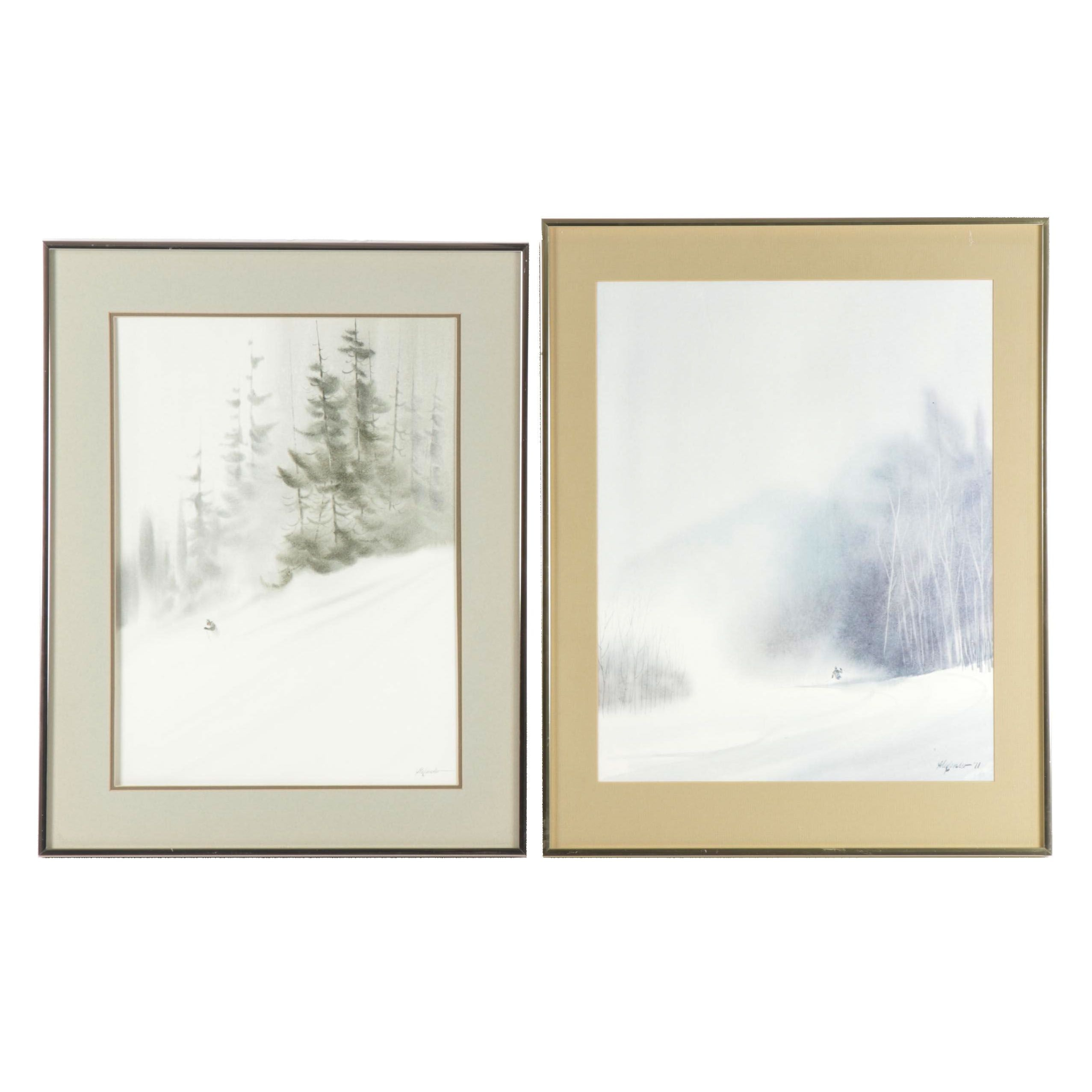 """Bill Alexander Watercolor """"Timber Powder"""" and Offset Lithograph"""