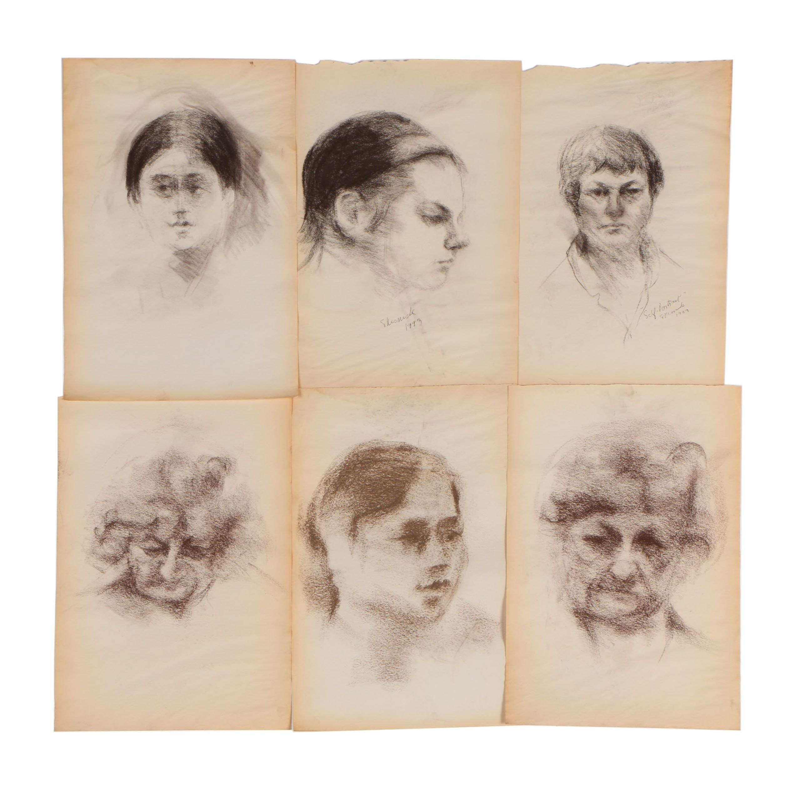Shirley Resnick Portrait Charcoal Drawings
