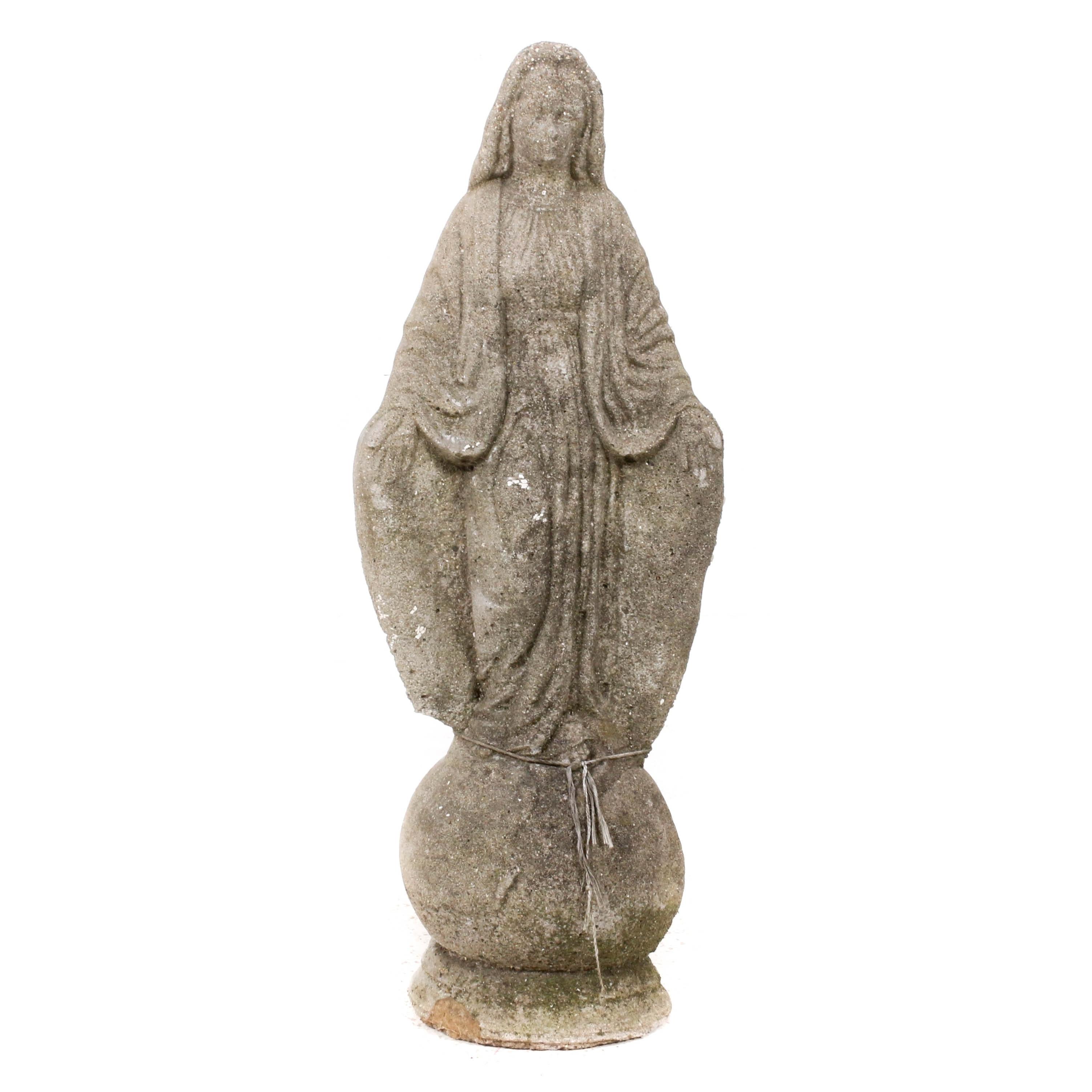 Concrete Virgin Mary Lawn Ornament
