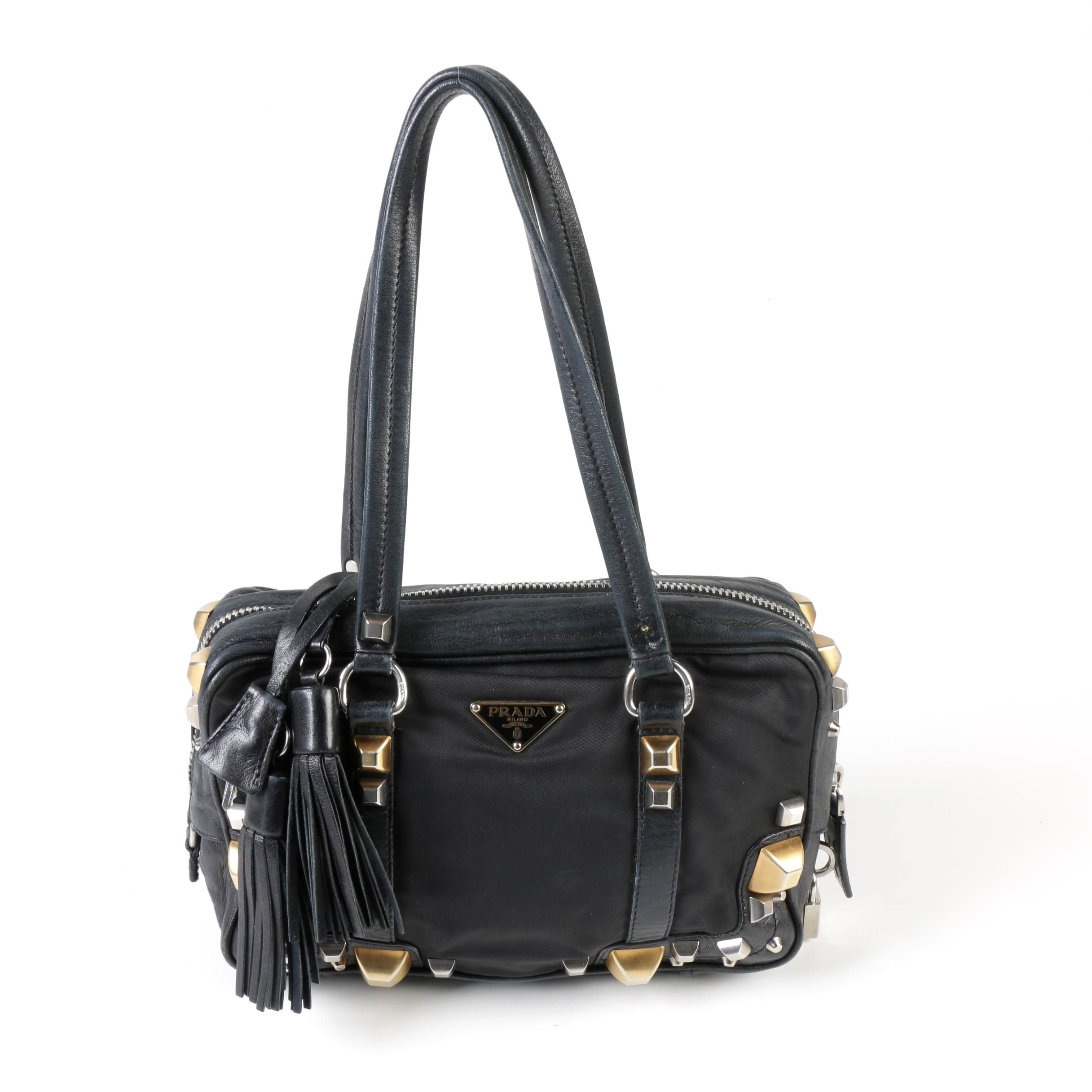 Prada Black Nylon and Leather Pyramid Studded Shoulder Bag with Tassels