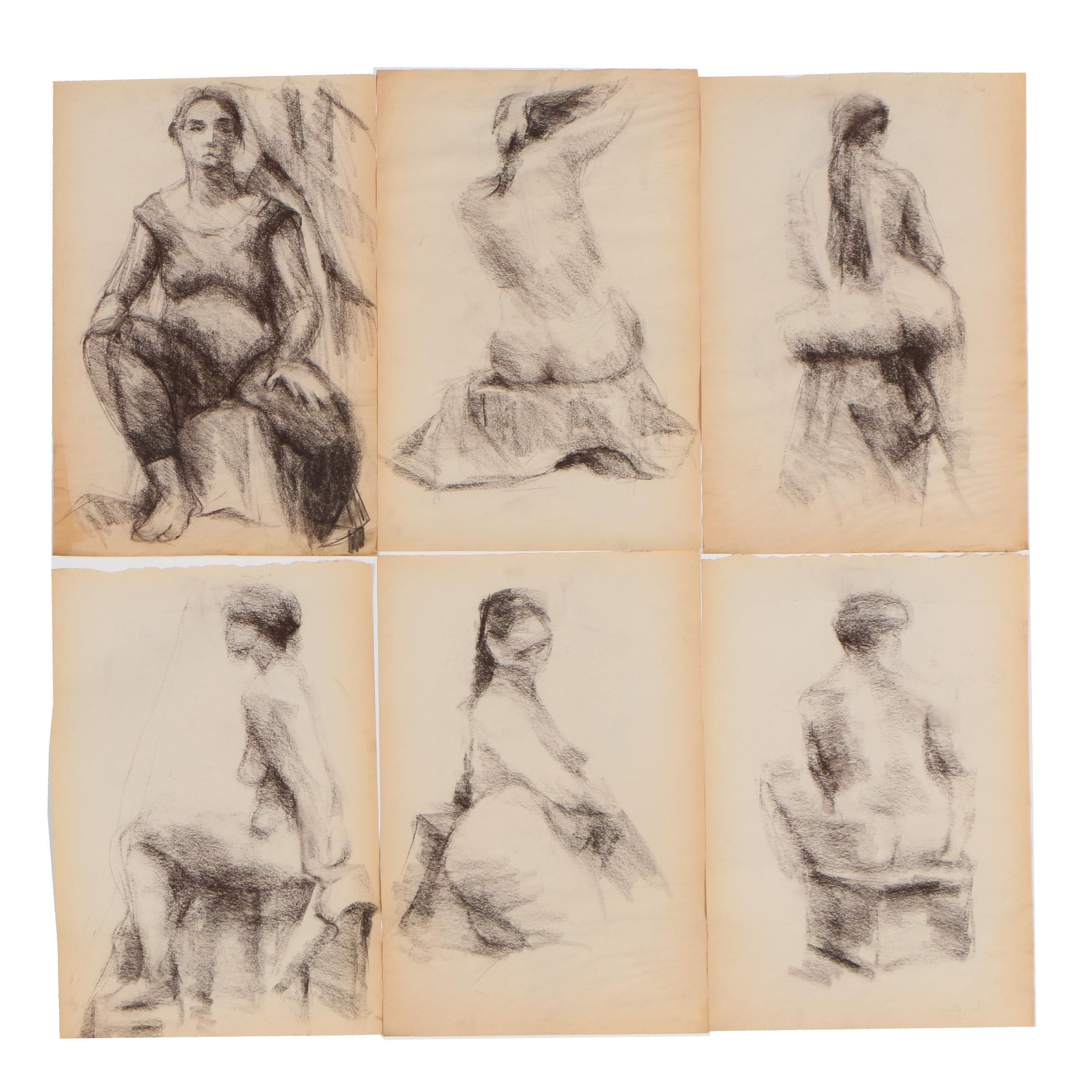 Shirley Resnick Figural Charcoal Drawings