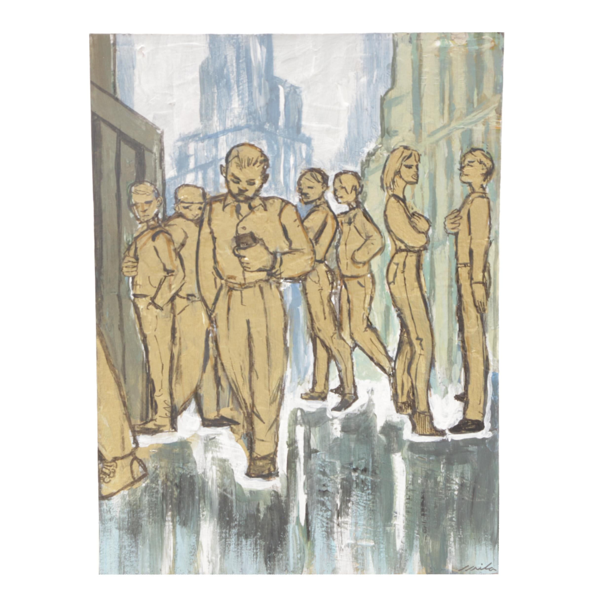 A. Avila Acrylic Painting of Stylized Figures in a City
