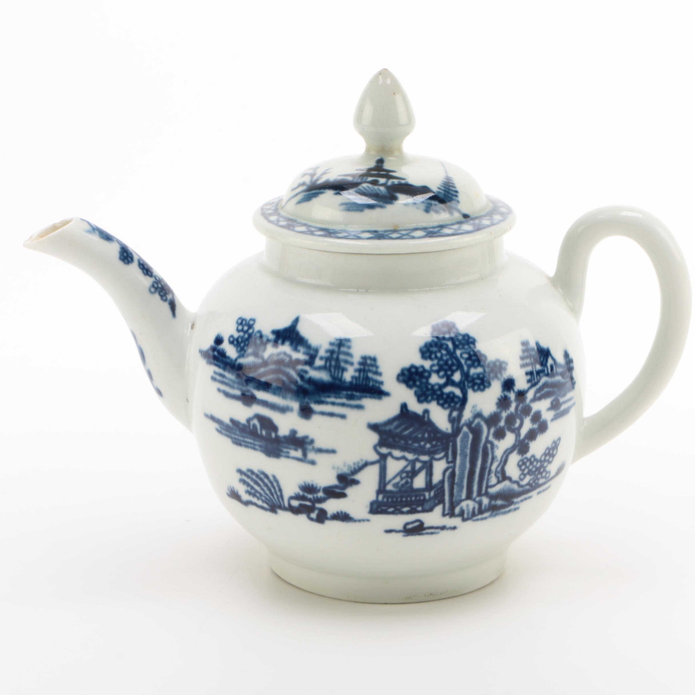 Royal Worcester Blue and White Porcelain Teapot, 1751-1783