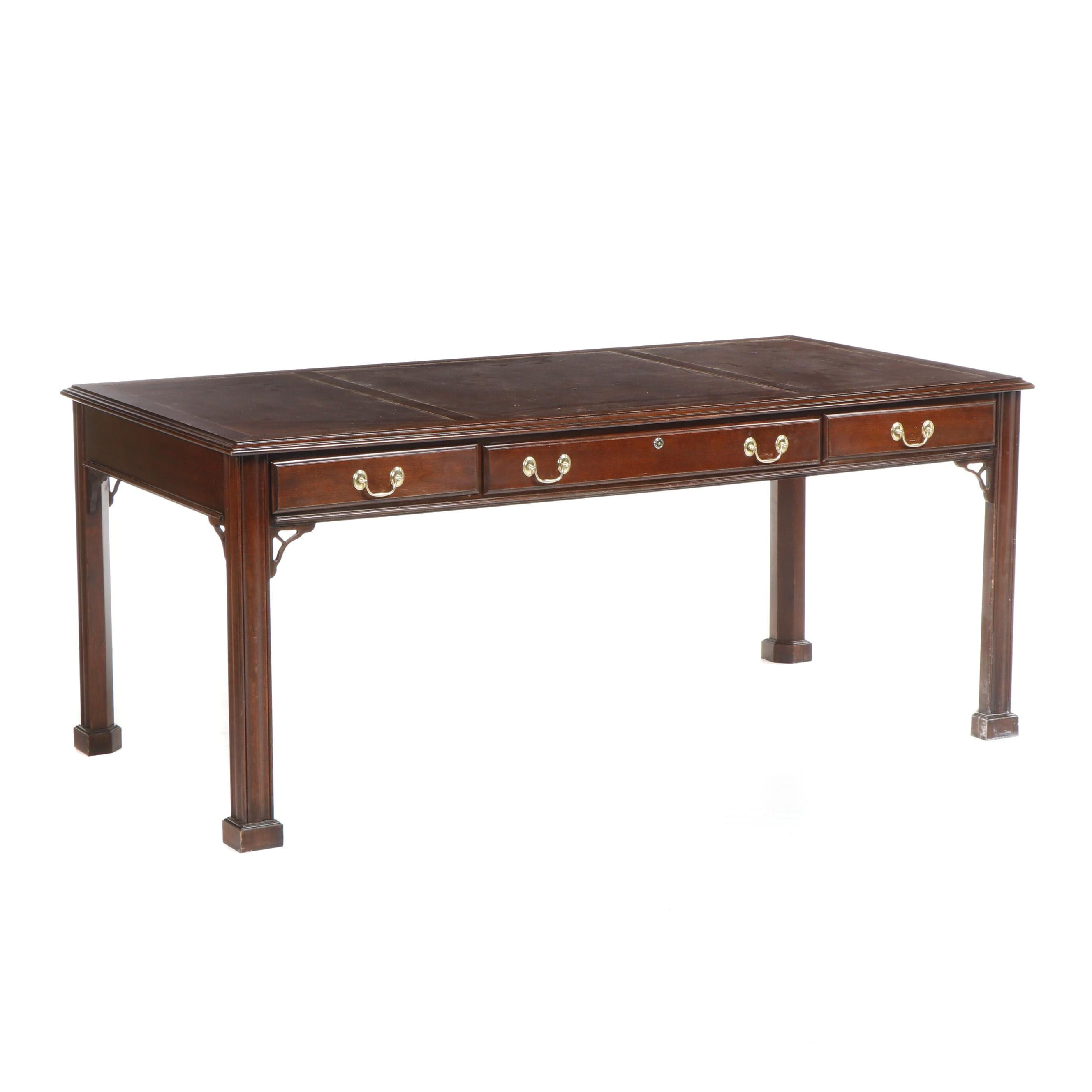 Harden Georgian Style Executive Desk with Leather Padding