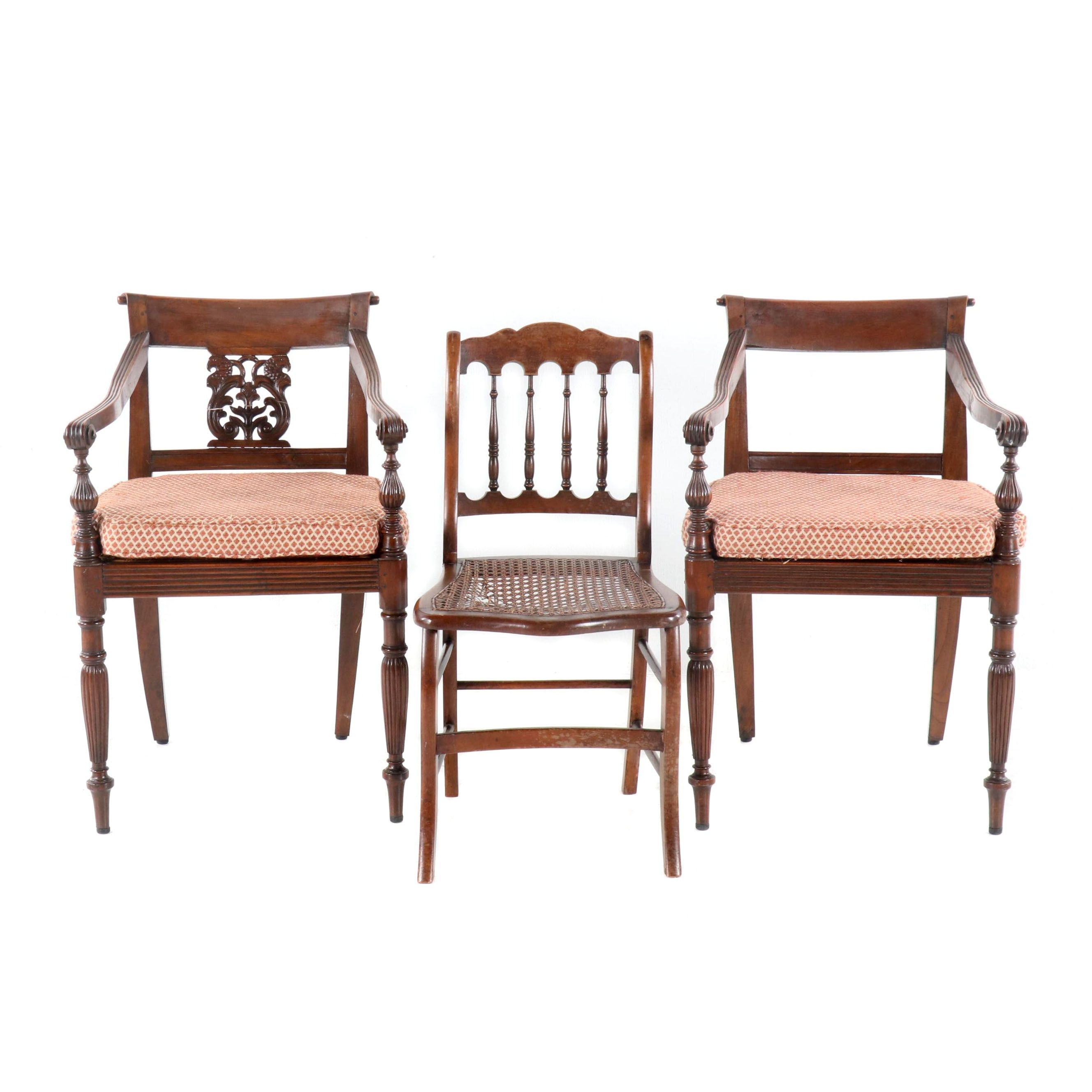 Regency Style Armchairs and Cane Side Chair, 20th Century