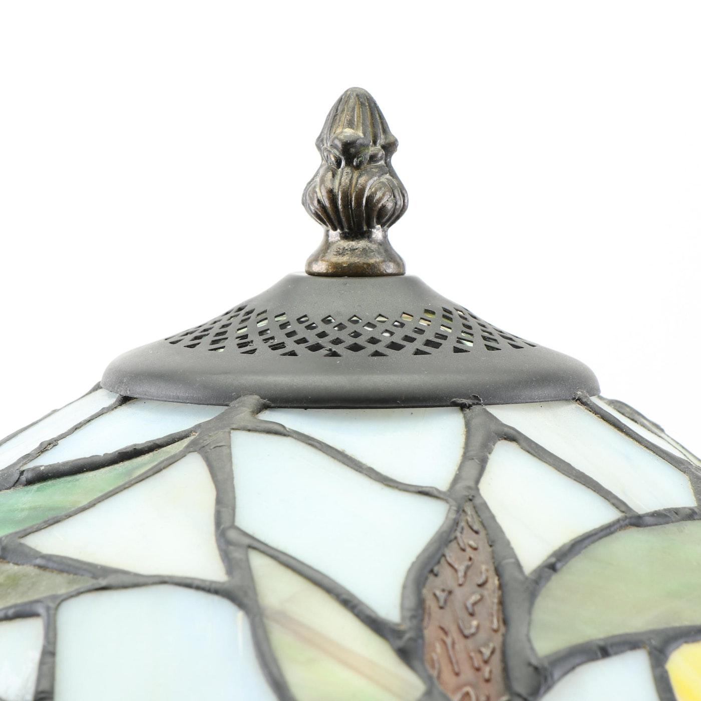Tiffany Style Slag Glass Hummingbird Table Lamp Contemporary Ebth