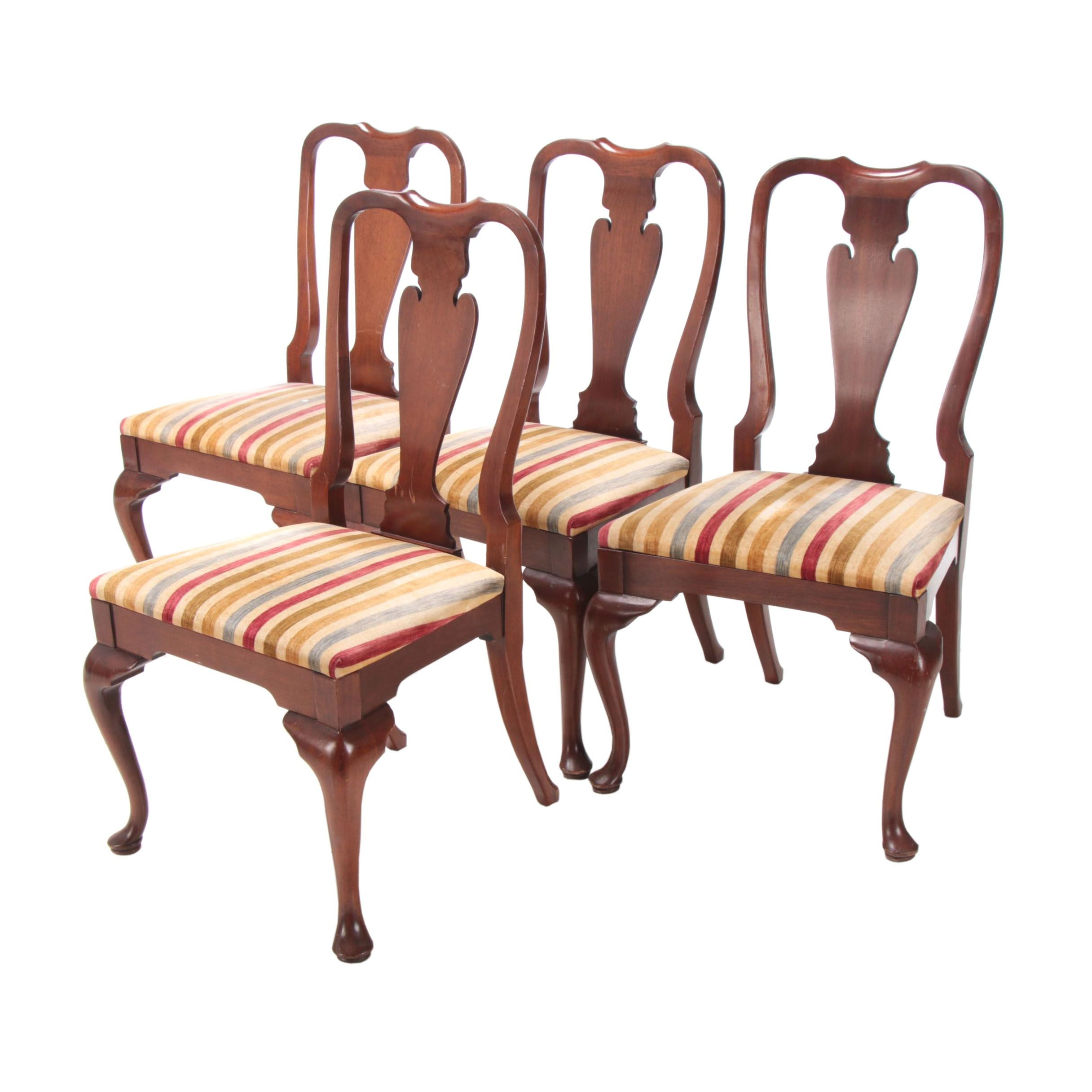 Four Hickory Chair Co., Queen Anne Style Mahogany Side Chairs, Mid 20th Century
