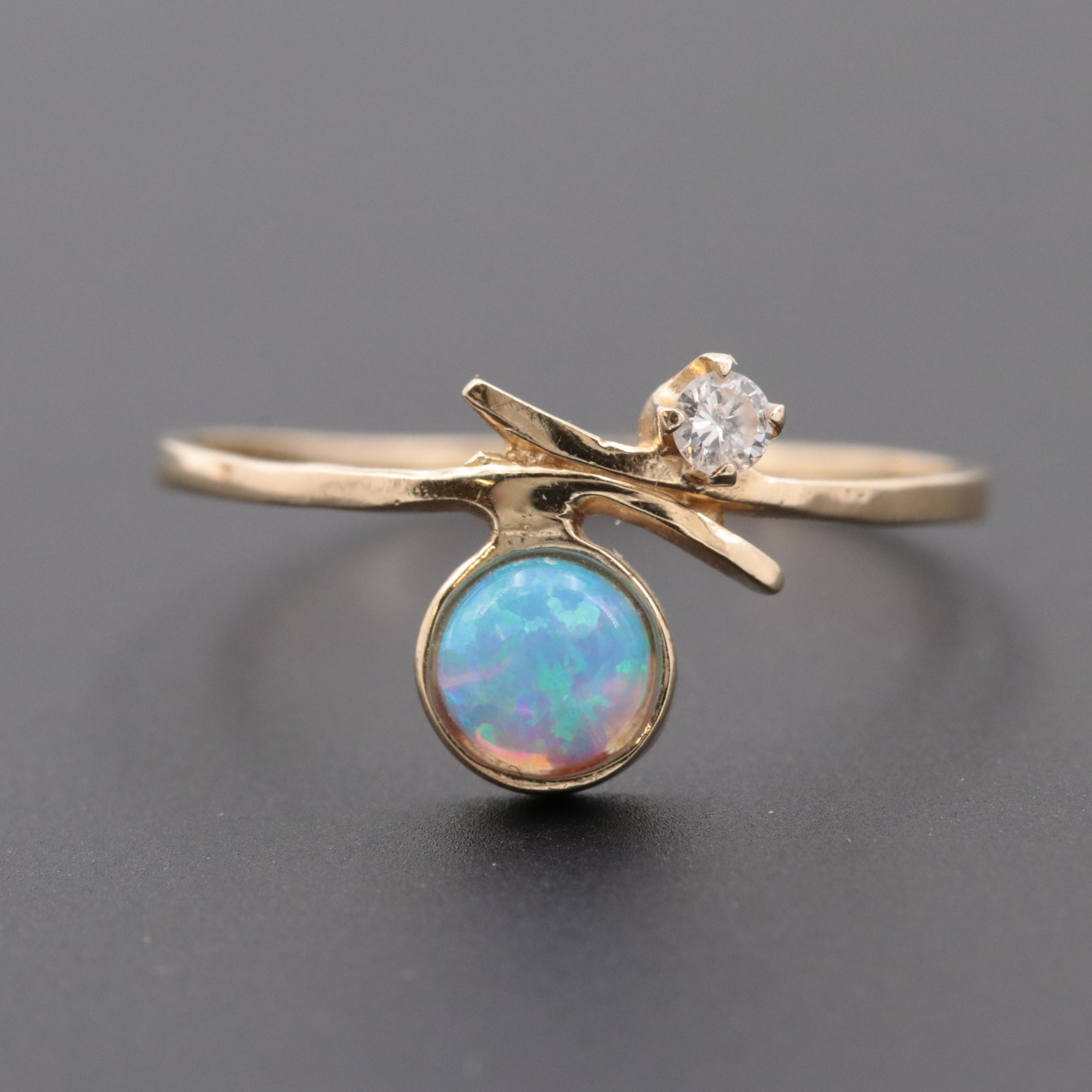 14K Yellow Gold Synthetic Opal and Diamond Ring