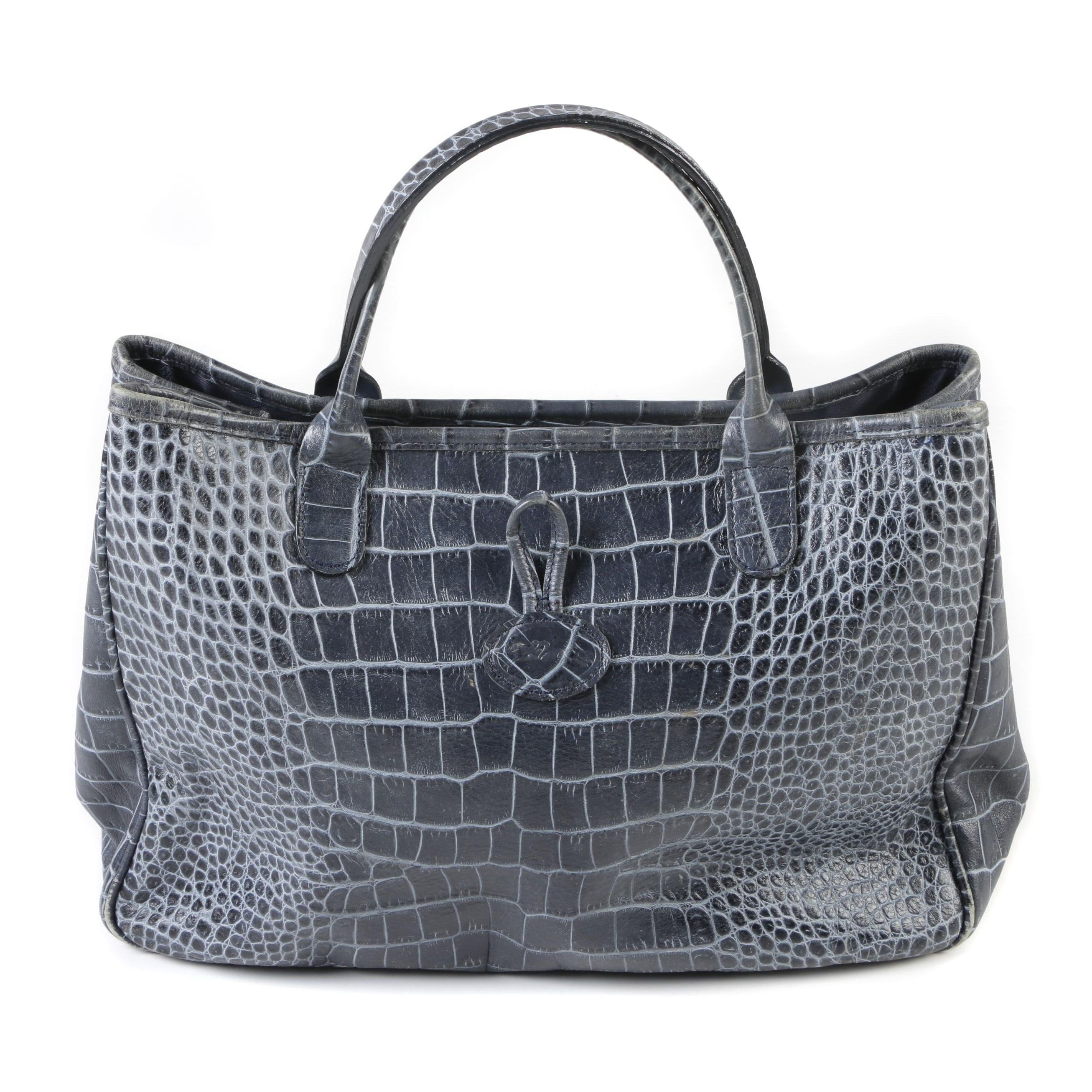 Longchamp Crocodile Embossed Dark Blue Leather Roseau Toggle Tote