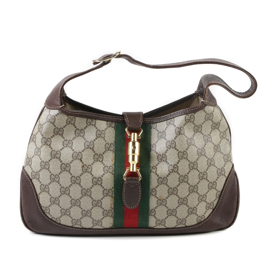 b83d20d69 Gucci Supreme Canvas and Brown Leather Jackie Hobo Bag with Piston Lock |  EBTH