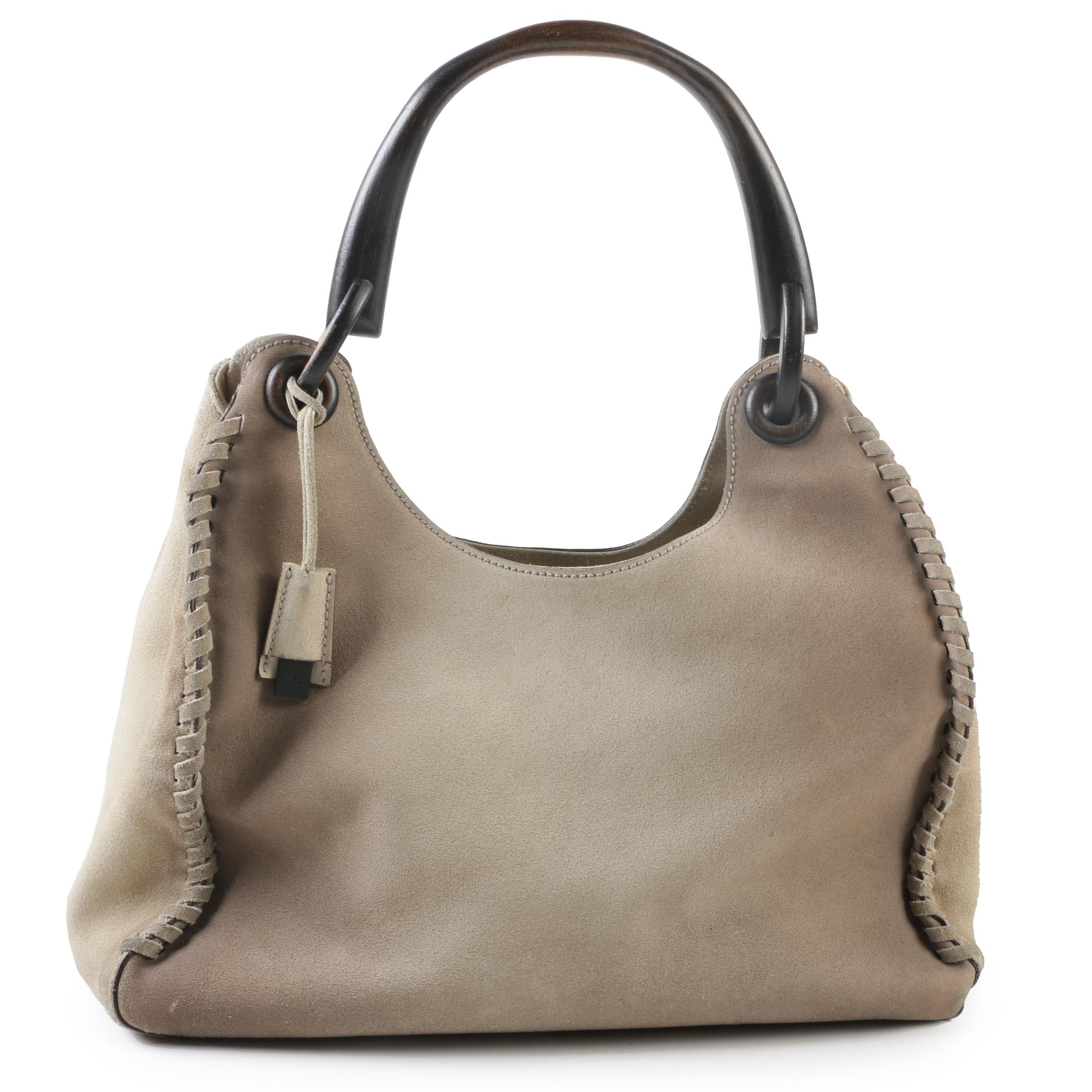 Gucci Stone Suede Whipstitched Hobo Bag with Wood Handle