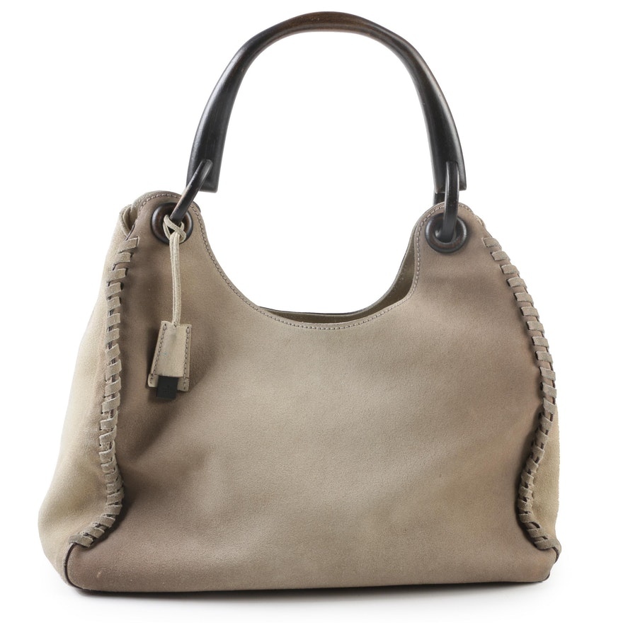 420e11f38033 Gucci Stone Suede Whipstitched Hobo Bag with Wood Handle : EBTH