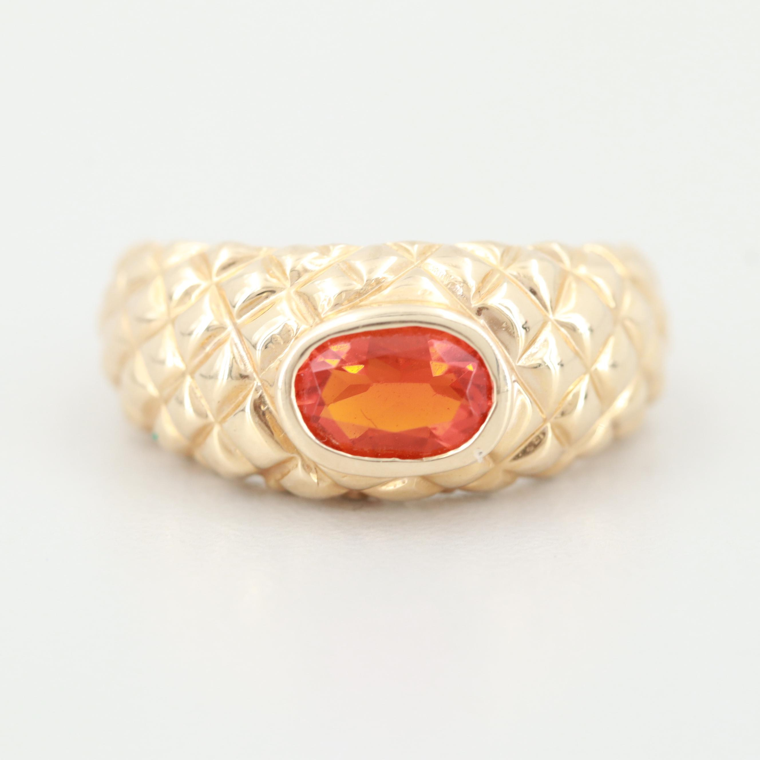 14K Yellow Gold Fire Opal Ring