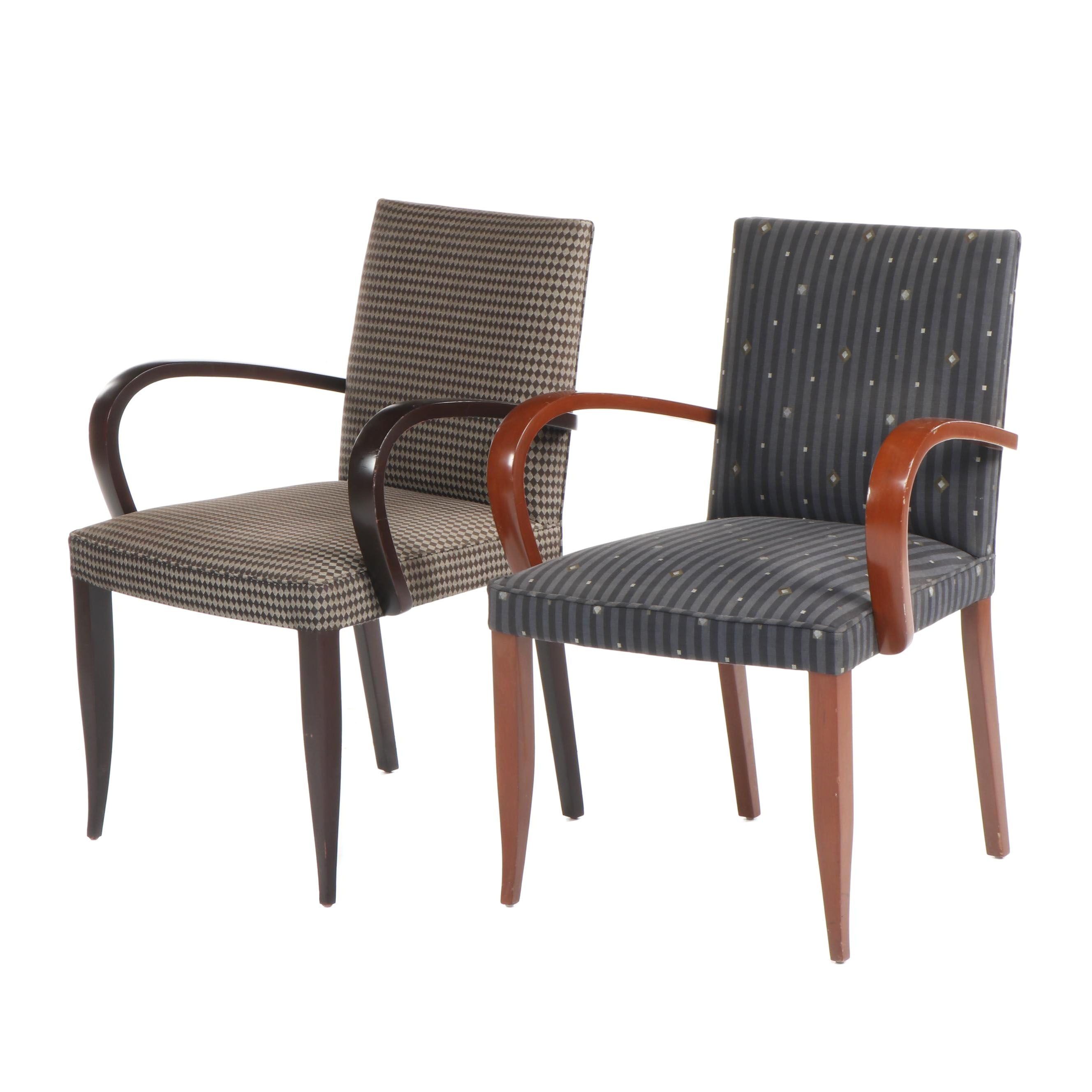 Modern Style Upholstered Armchairs with Wooden Frames