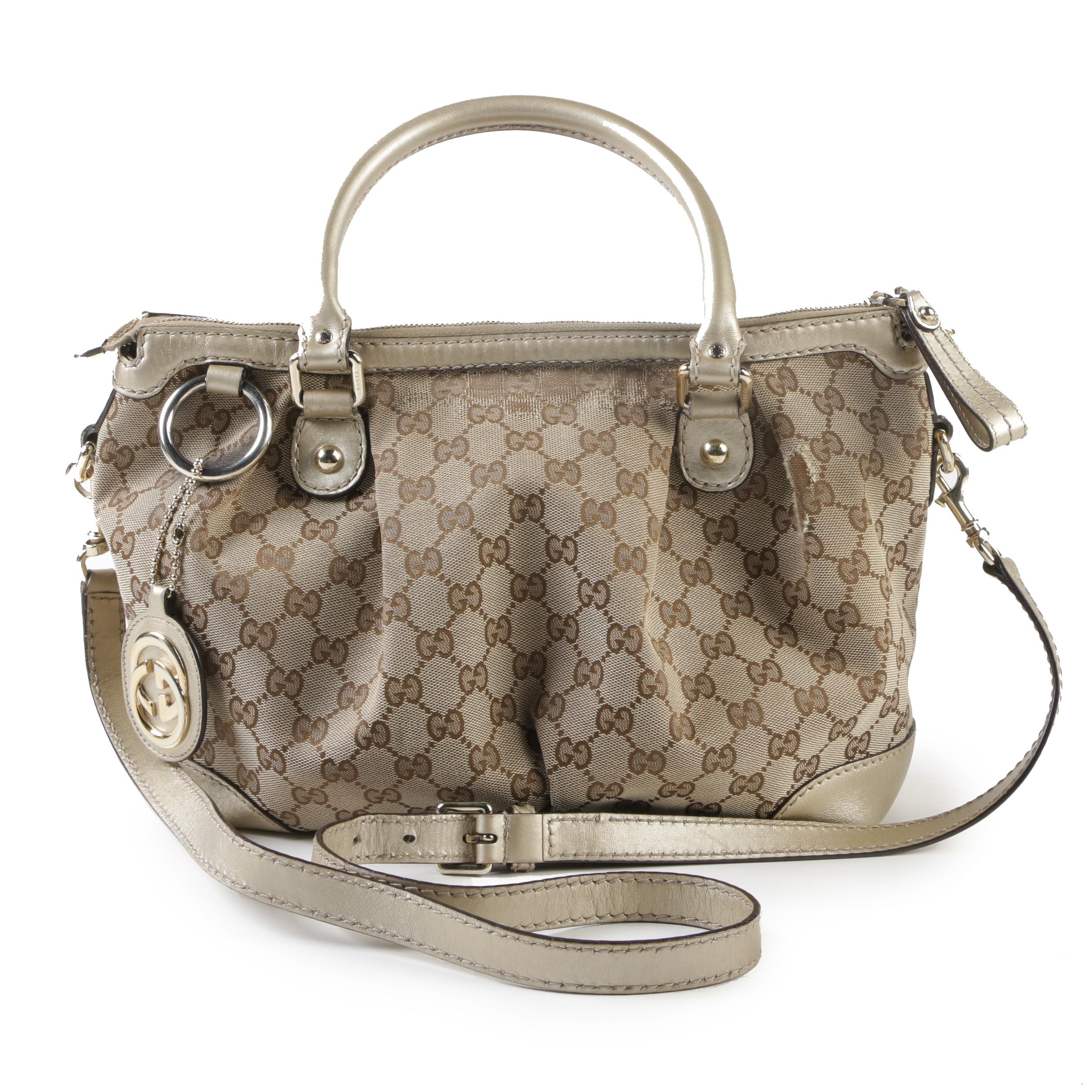Gucci GG Tan Canvas and Metallic Beige Leather Sukey Satchel with Logo Charm