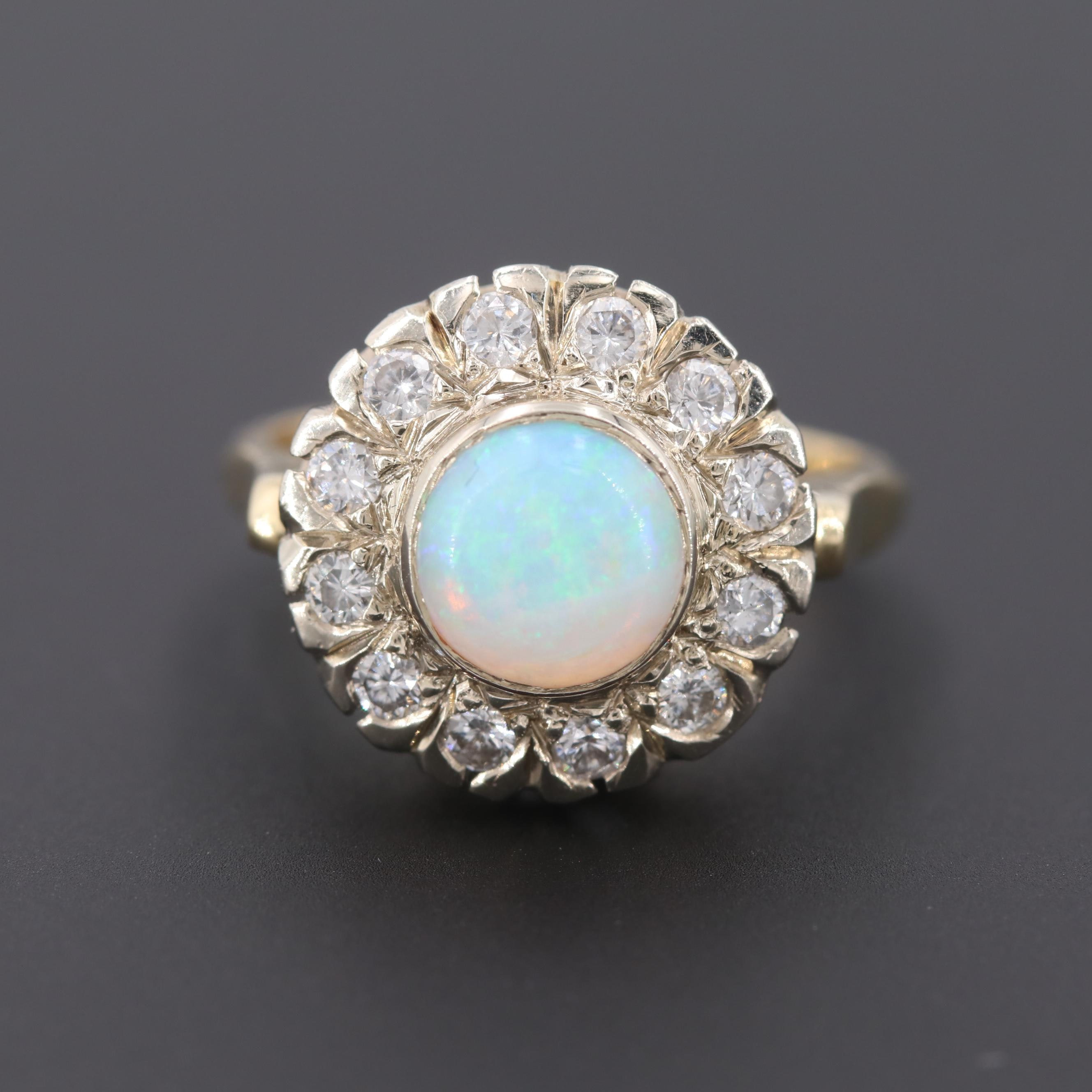 14K Yellow and White Gold Opal and Diamond Ring