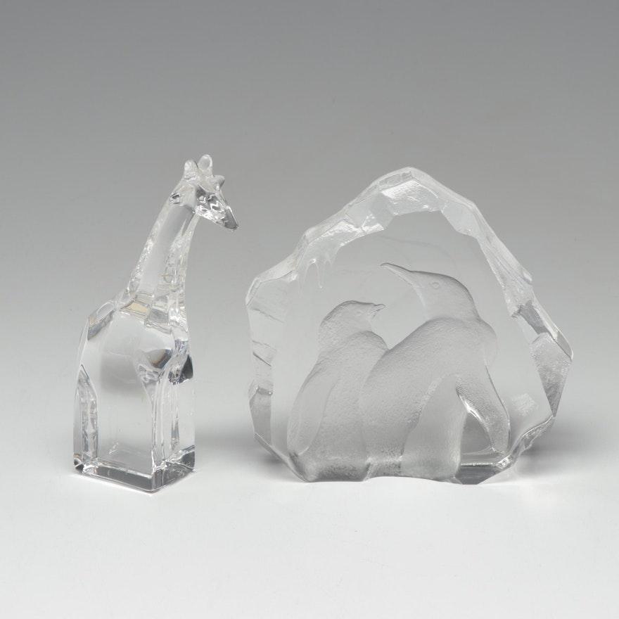 2411a8a06 Mats Jonasson Emperor Penguin Sculpture and Orrefors Crystal Giraffe ...