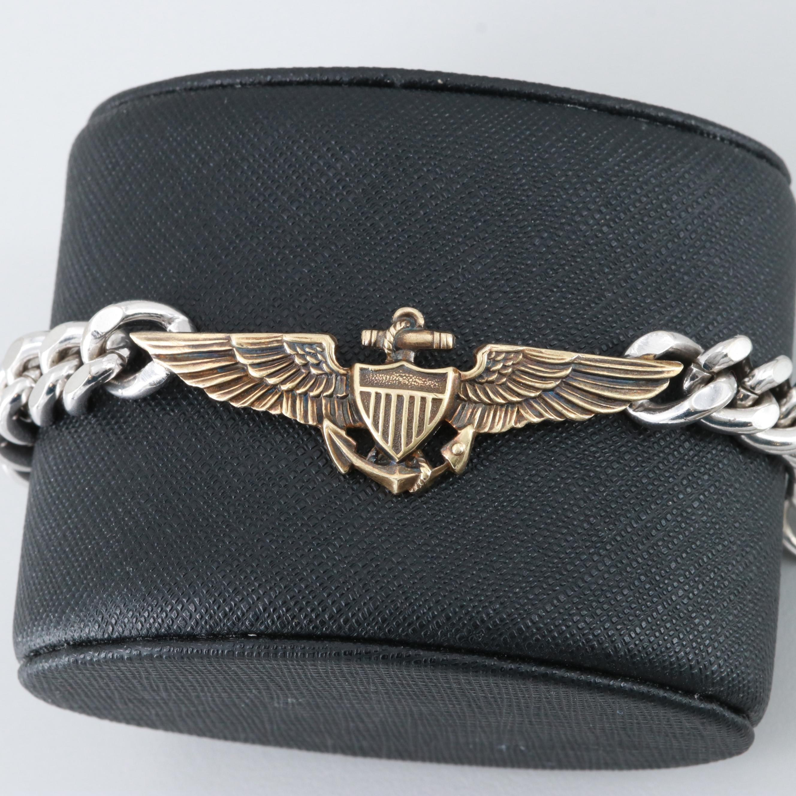 Silver Tone and Gold Filled Naval Aviator Bracelet