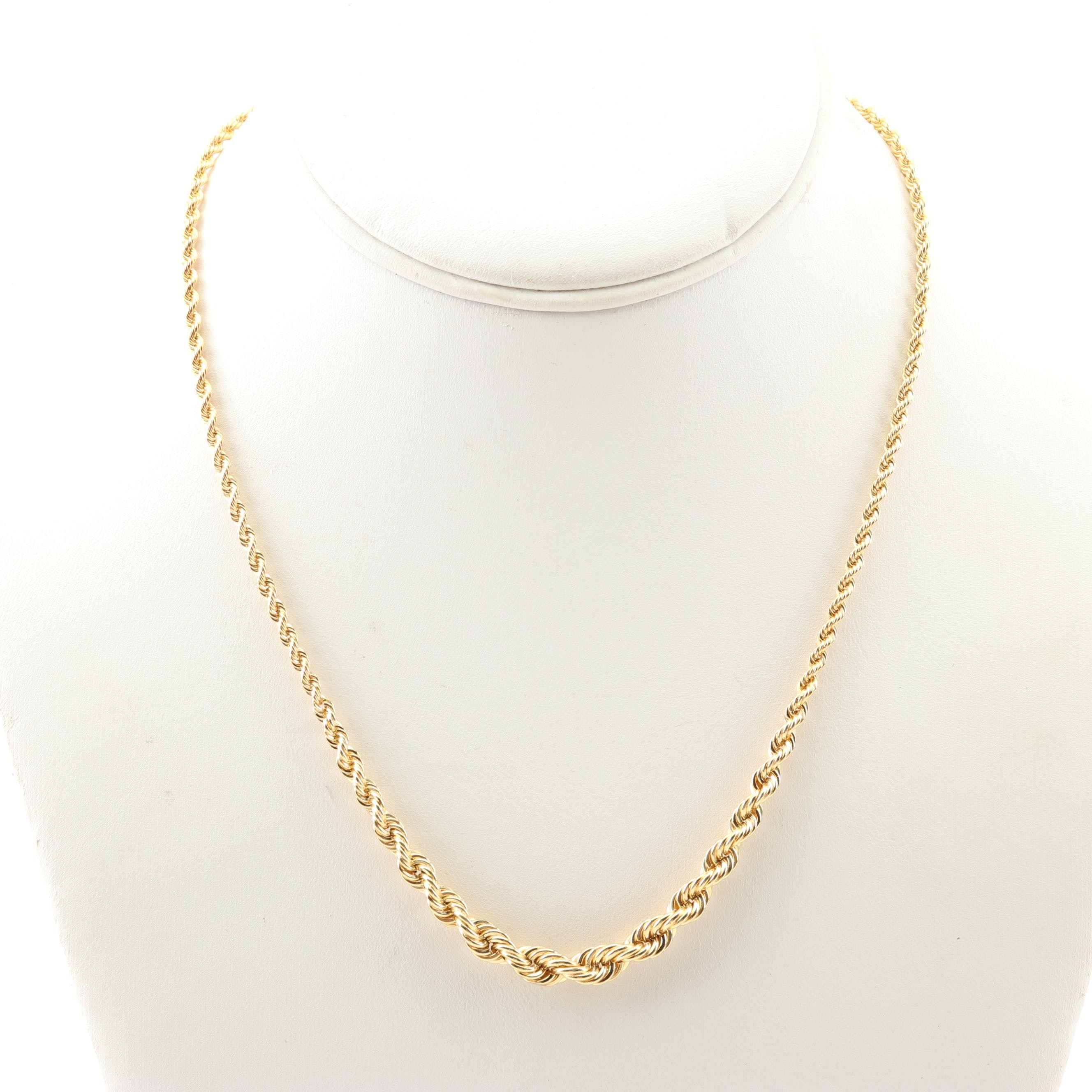 18K Yellow Gold Graduated Rope Chain Necklace