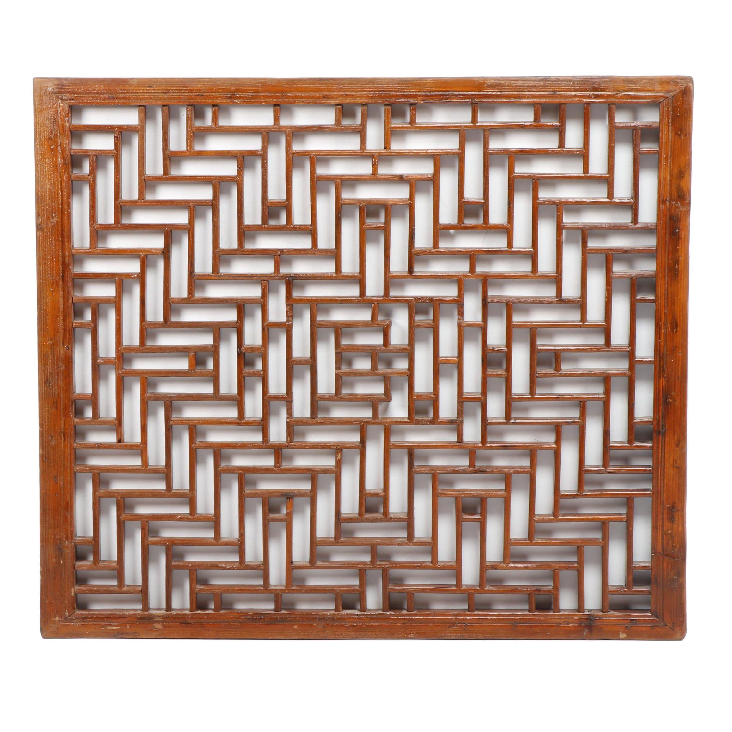 Japanese Geometric Lattice Pine Wall Hanging, Mid to Late 20th Century