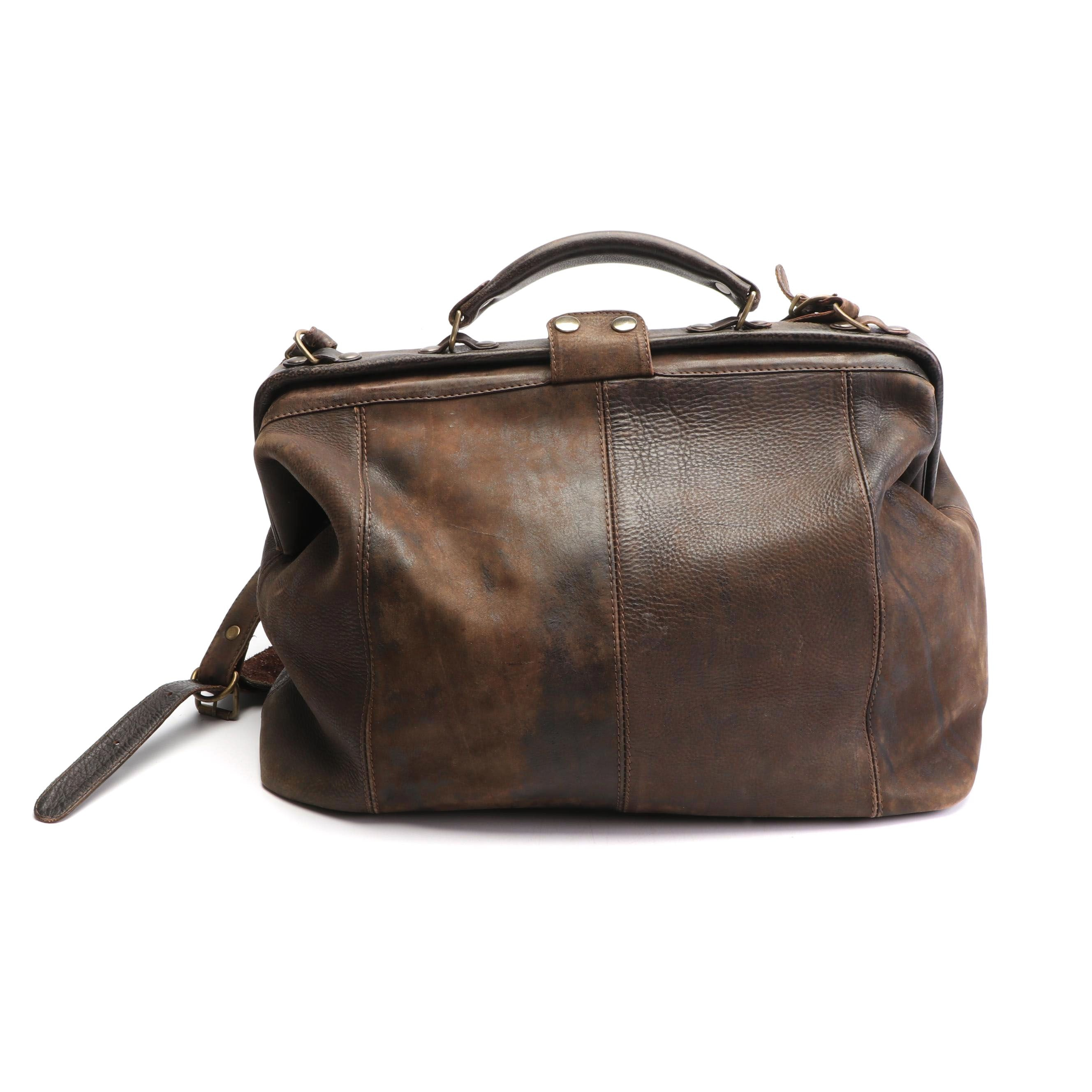 Hobo International Distressed Brown Leather Doctor's Style Bag