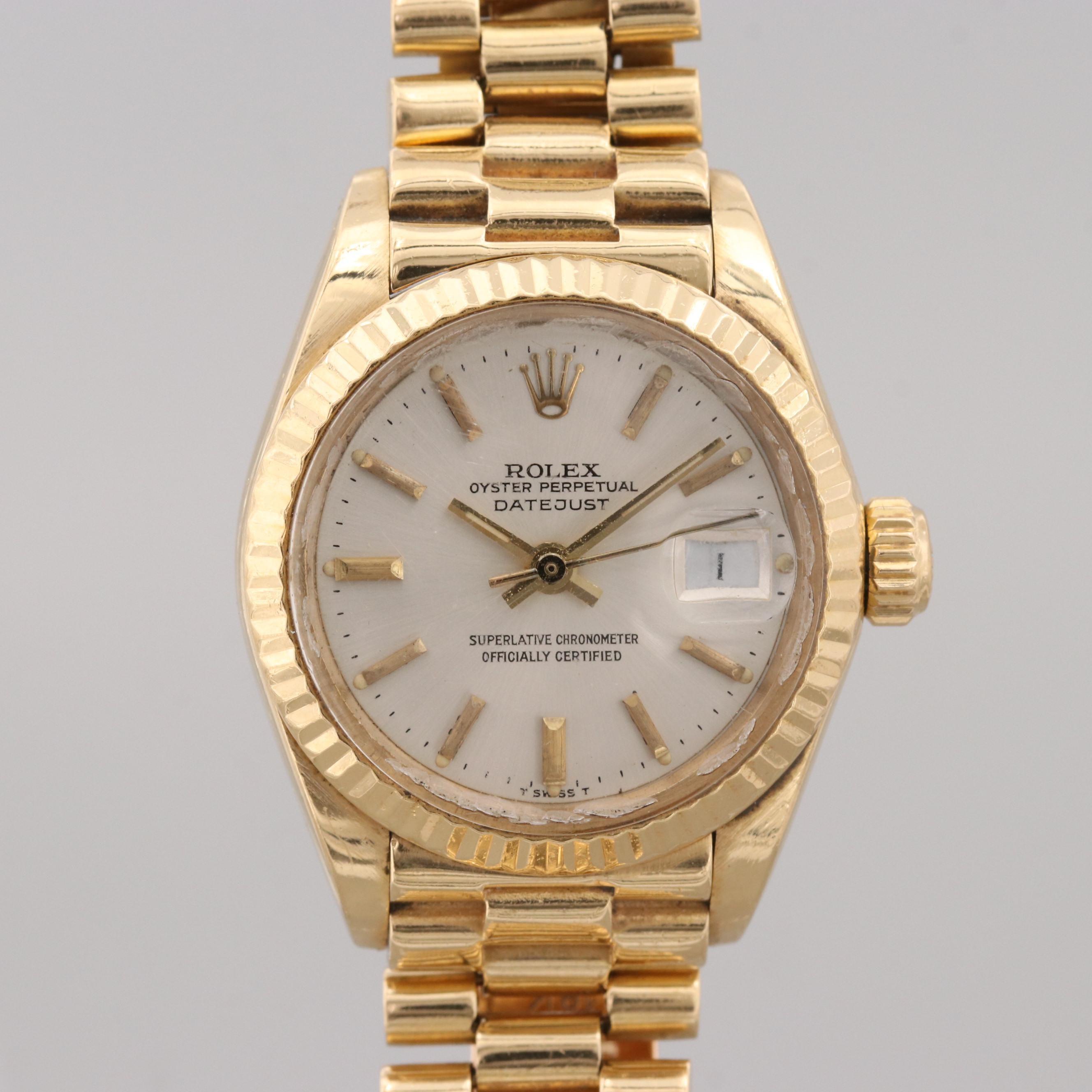 Vintage Rolex Datejust 18K Yellow Gold Automatic Wristwatch, 1980