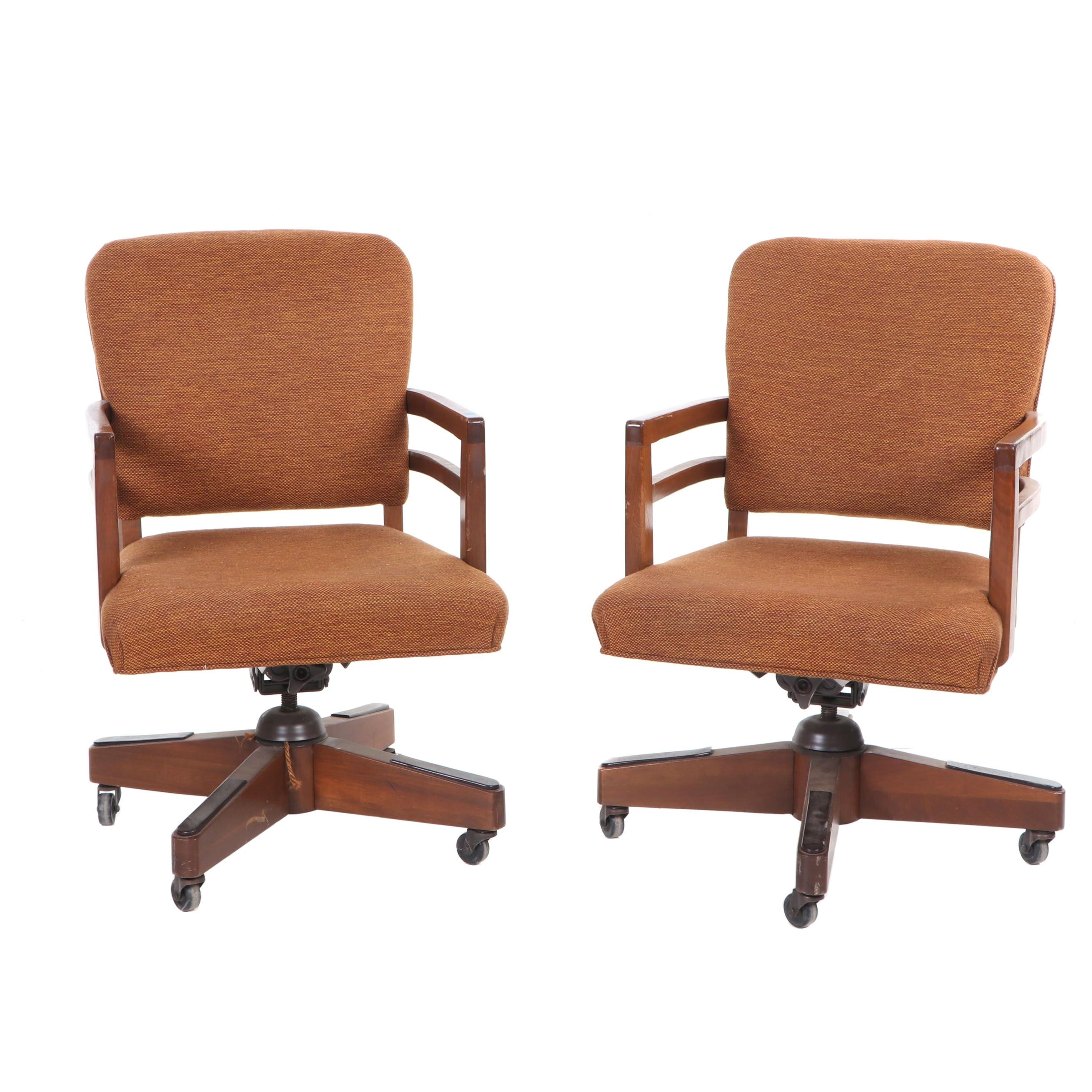 Walnut Upholstered Swivel Base Office Chairs, Mid-Century