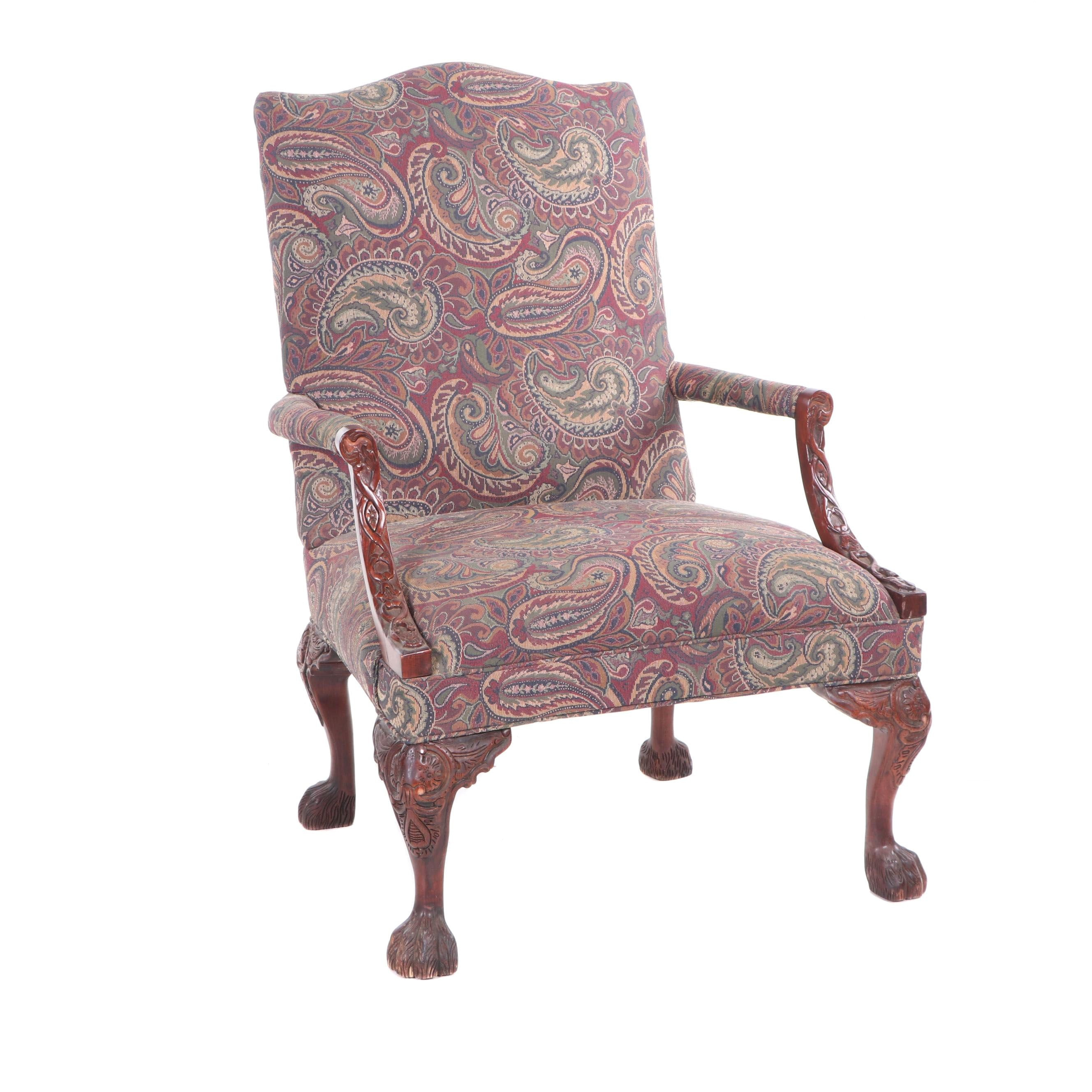 Chippendale Style Mahogany Finish Paisley Upholstered Armchair