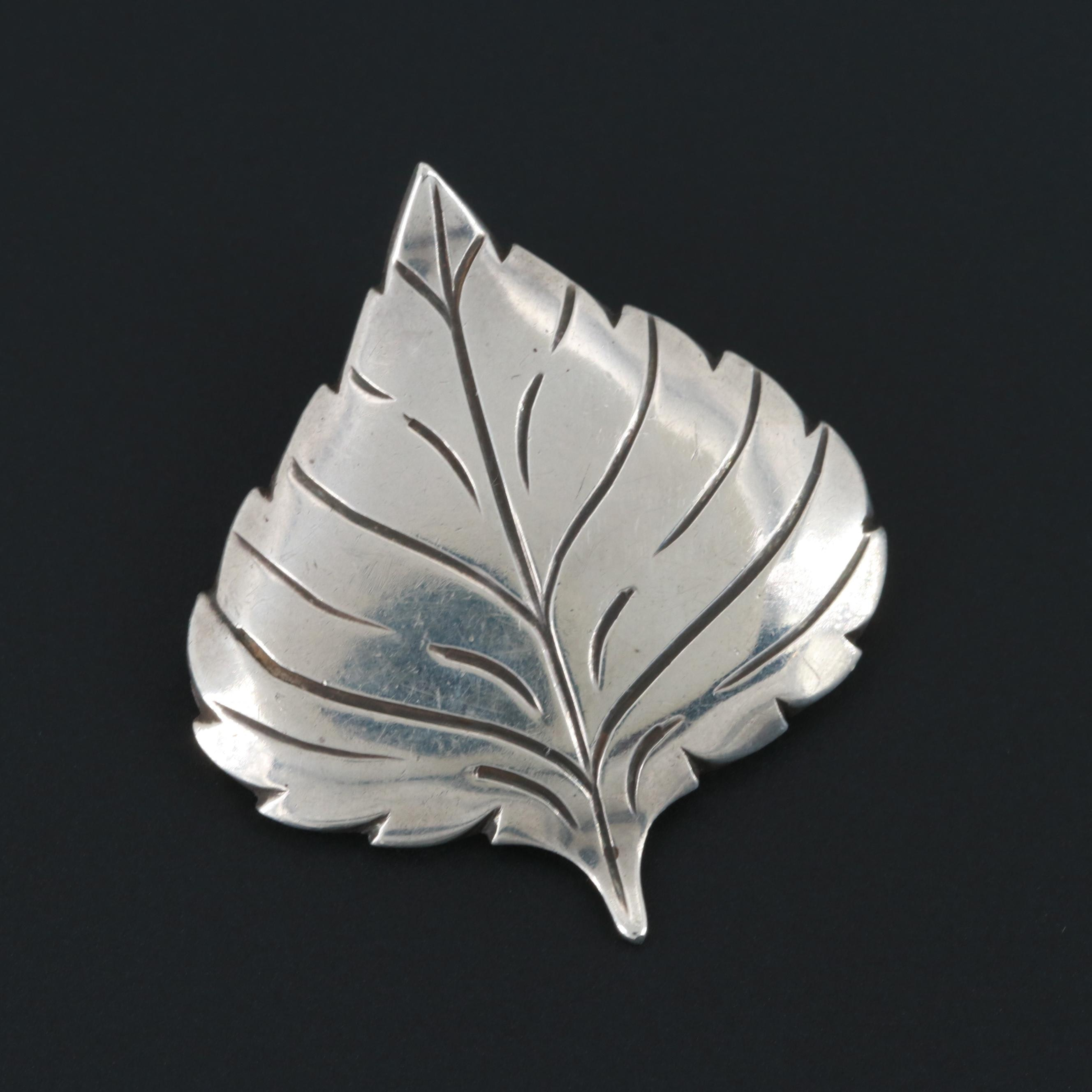 Jim Hayes Sterling Silver Leaf Motif Brooch