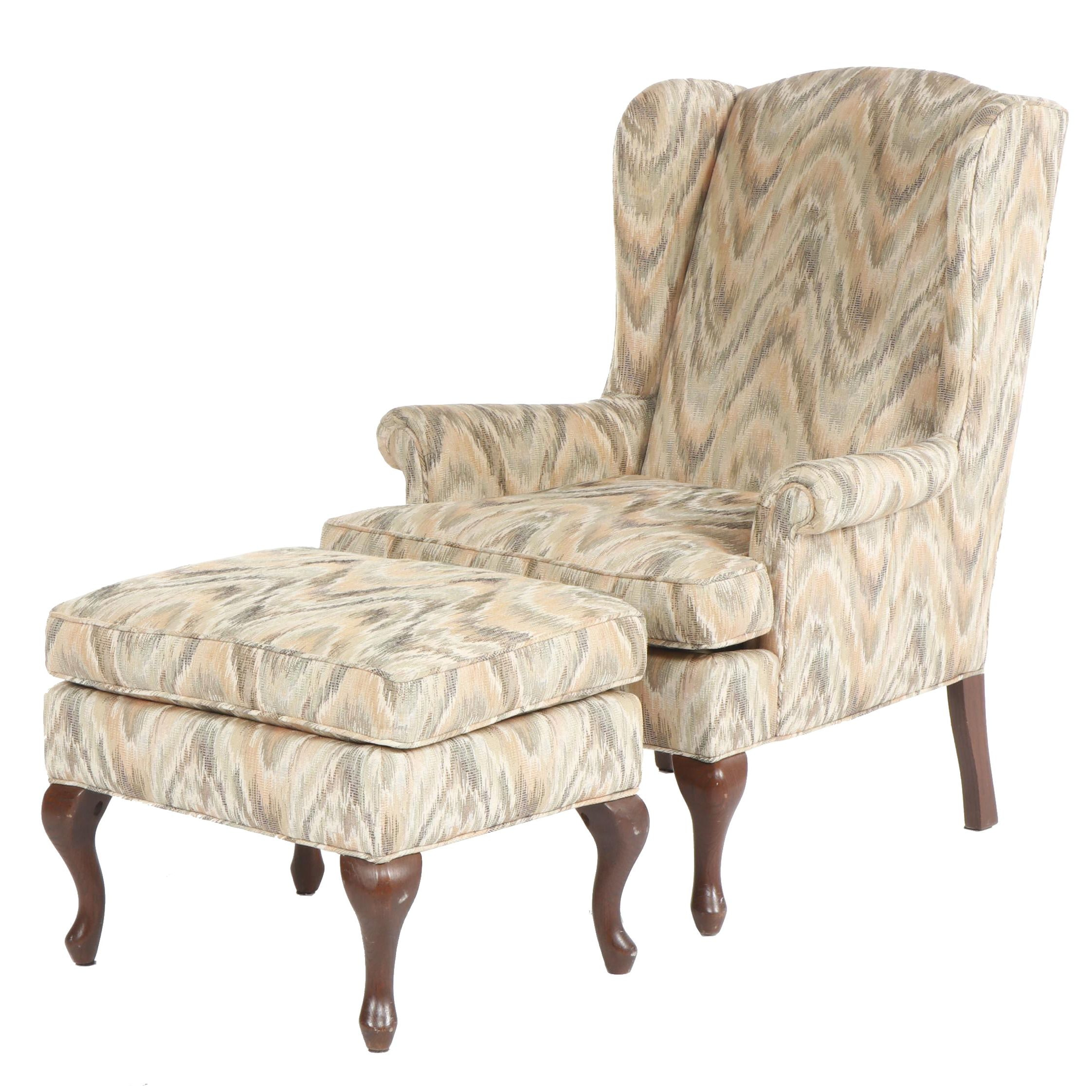 Queen Anne Style Upholstered Wingback Chair with Footstool