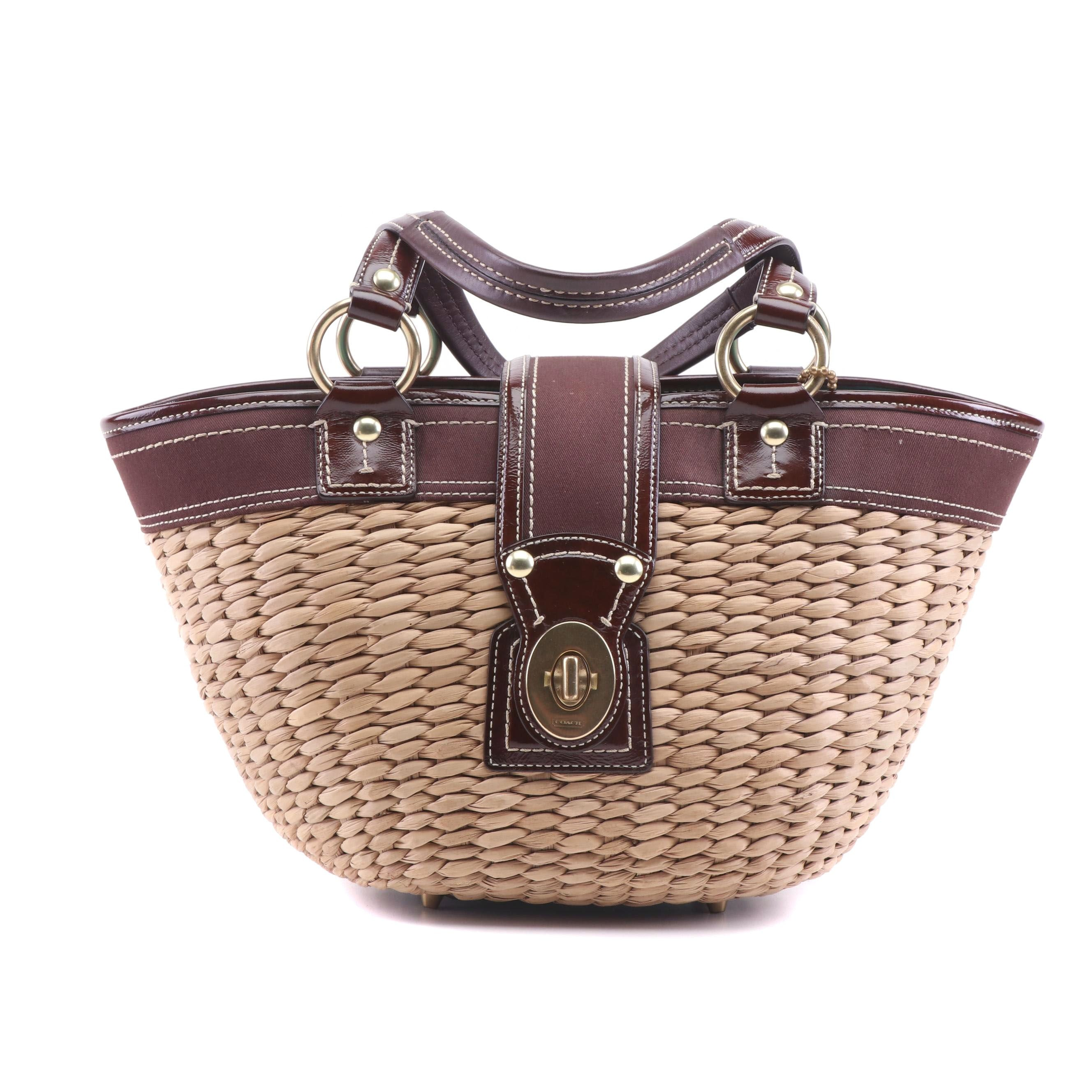 Coach Summer Straw Basket Tote Handbag
