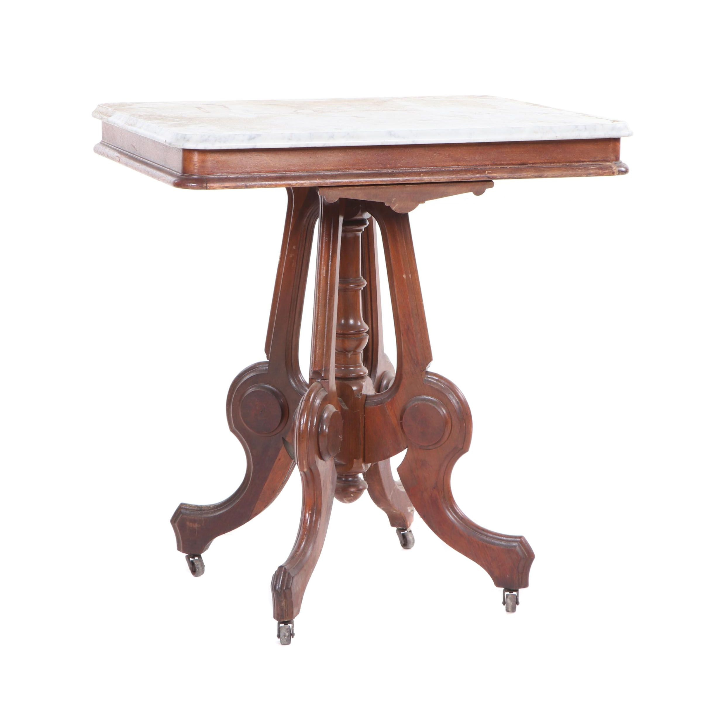 Eastlake Style Mahogany Side Table with Marble Top, Early 20th Century
