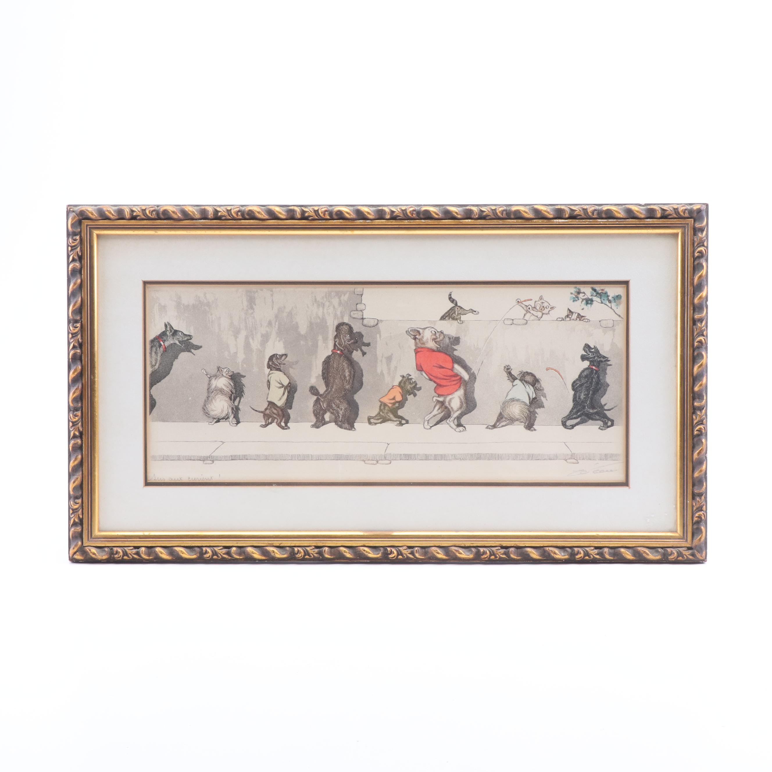 "Boris O'Klein Hand-Colored Etching ""Susaux Curieux!"""