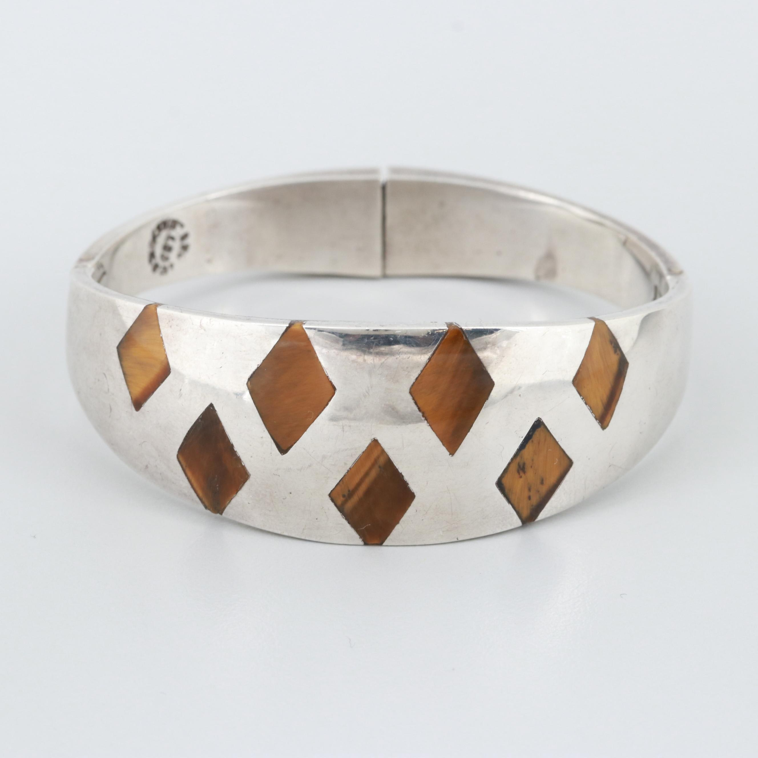 Taxco, Mexico Sterling Silver Tiger's Eye Cuff Bracelet